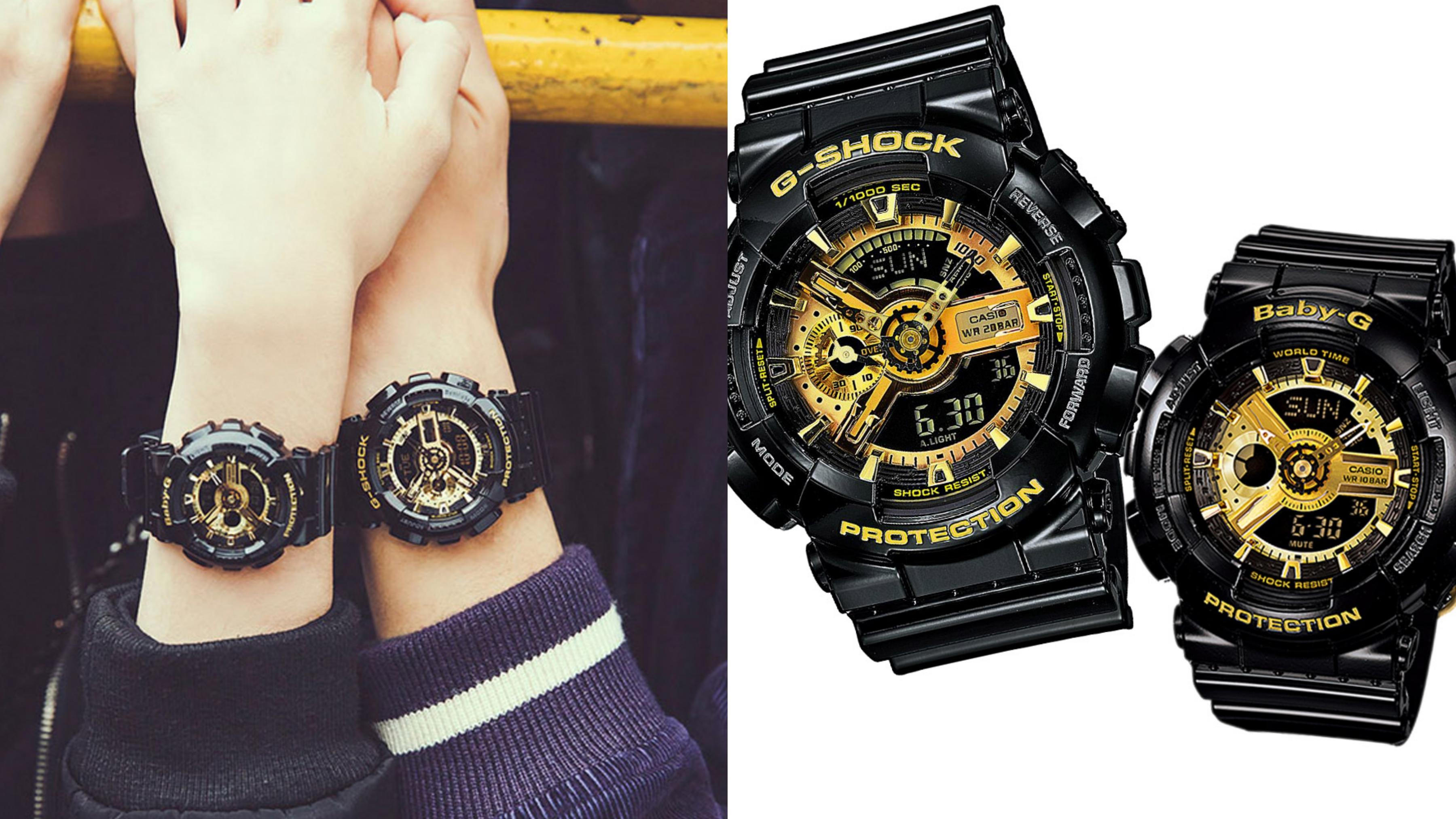 運動情人推薦。低調的黑色錶身搭配耀眼的金色錶盤