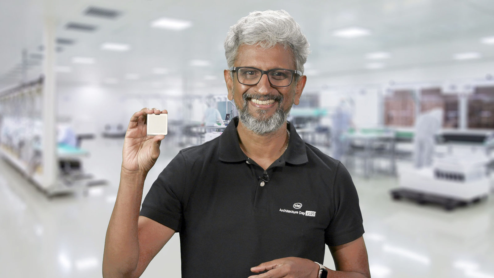 Intel SVP Raja Koduri holds up a Tiger Lake chip.