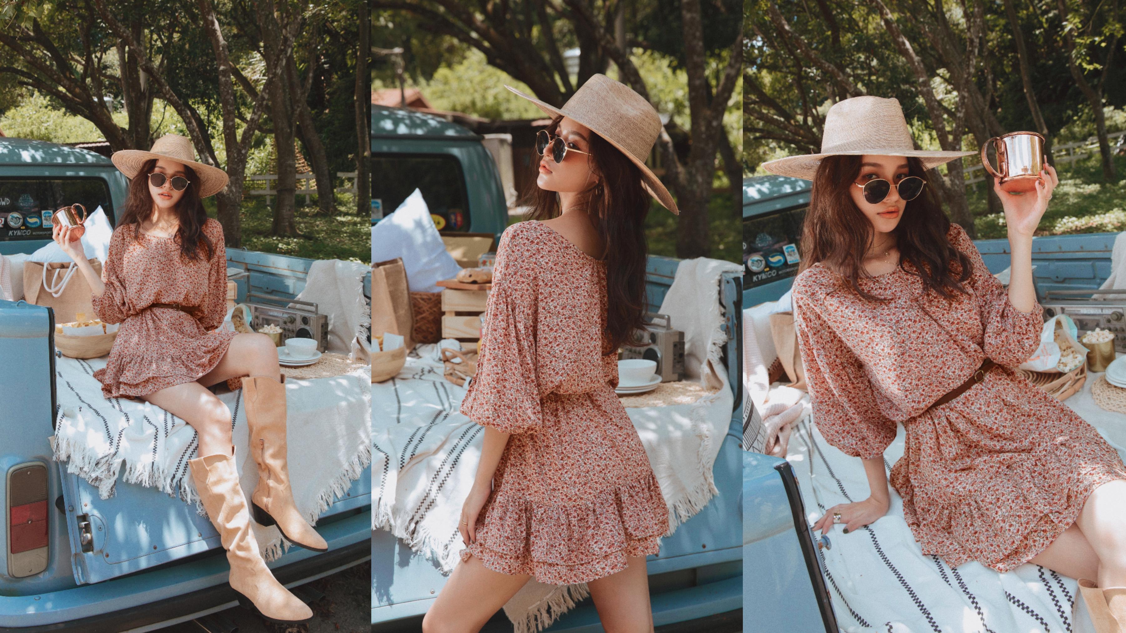 裙襬的荷葉造型,不僅能修飾大腿線條,更能穿出活潑感