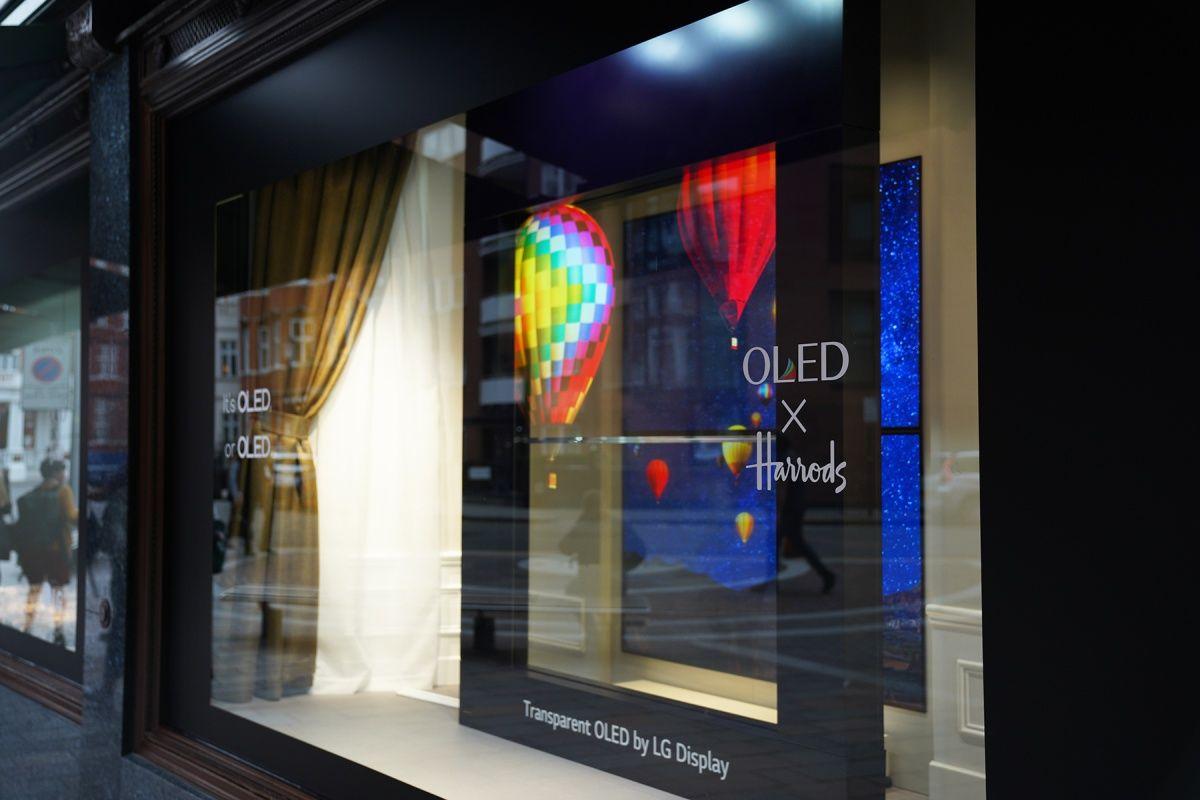 LG Display's transparent OLED signage at Harrods.