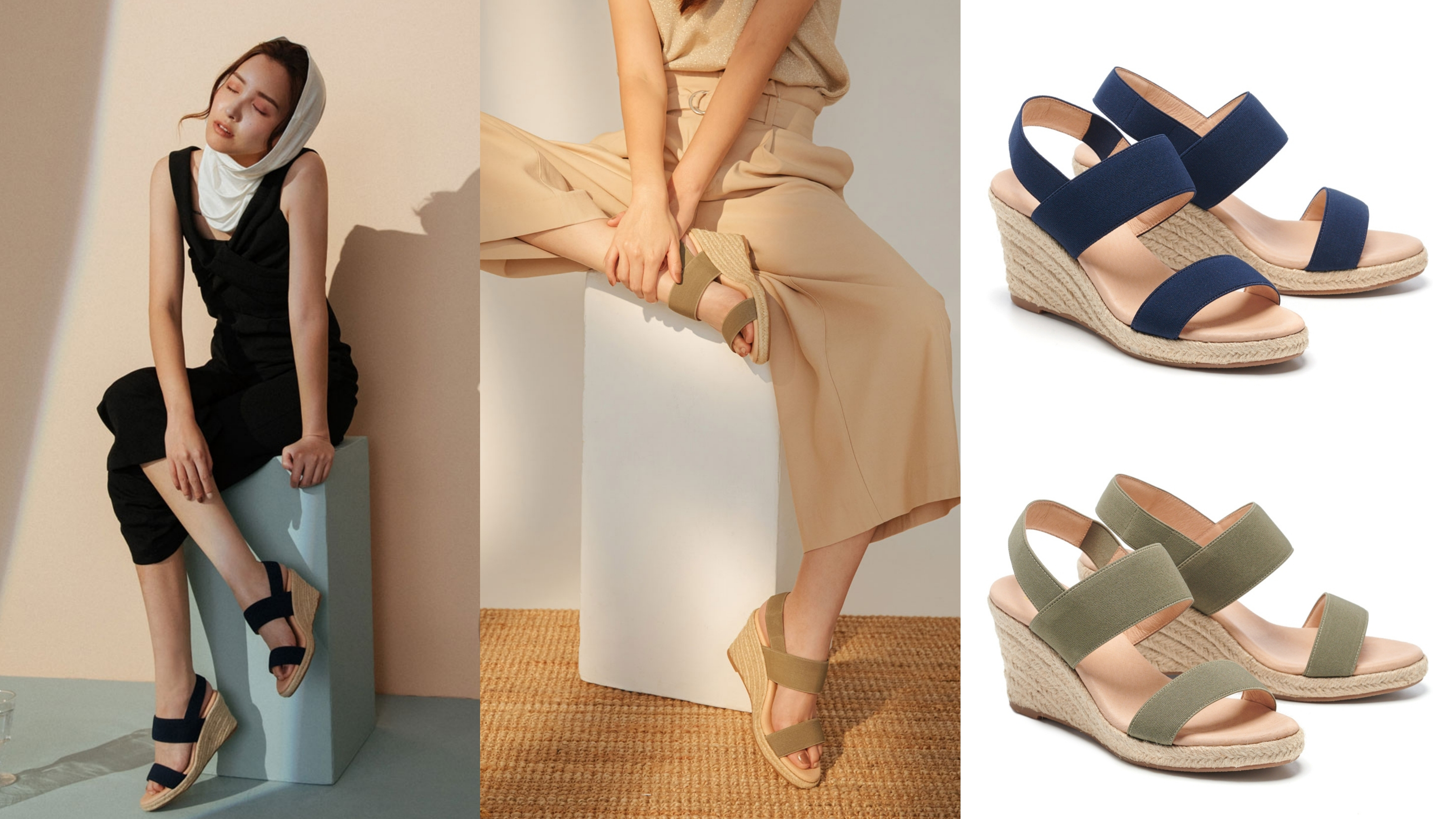 夏日必備百搭修身舒適涼鞋款,精選質感彈力鬆緊帶面料製成
