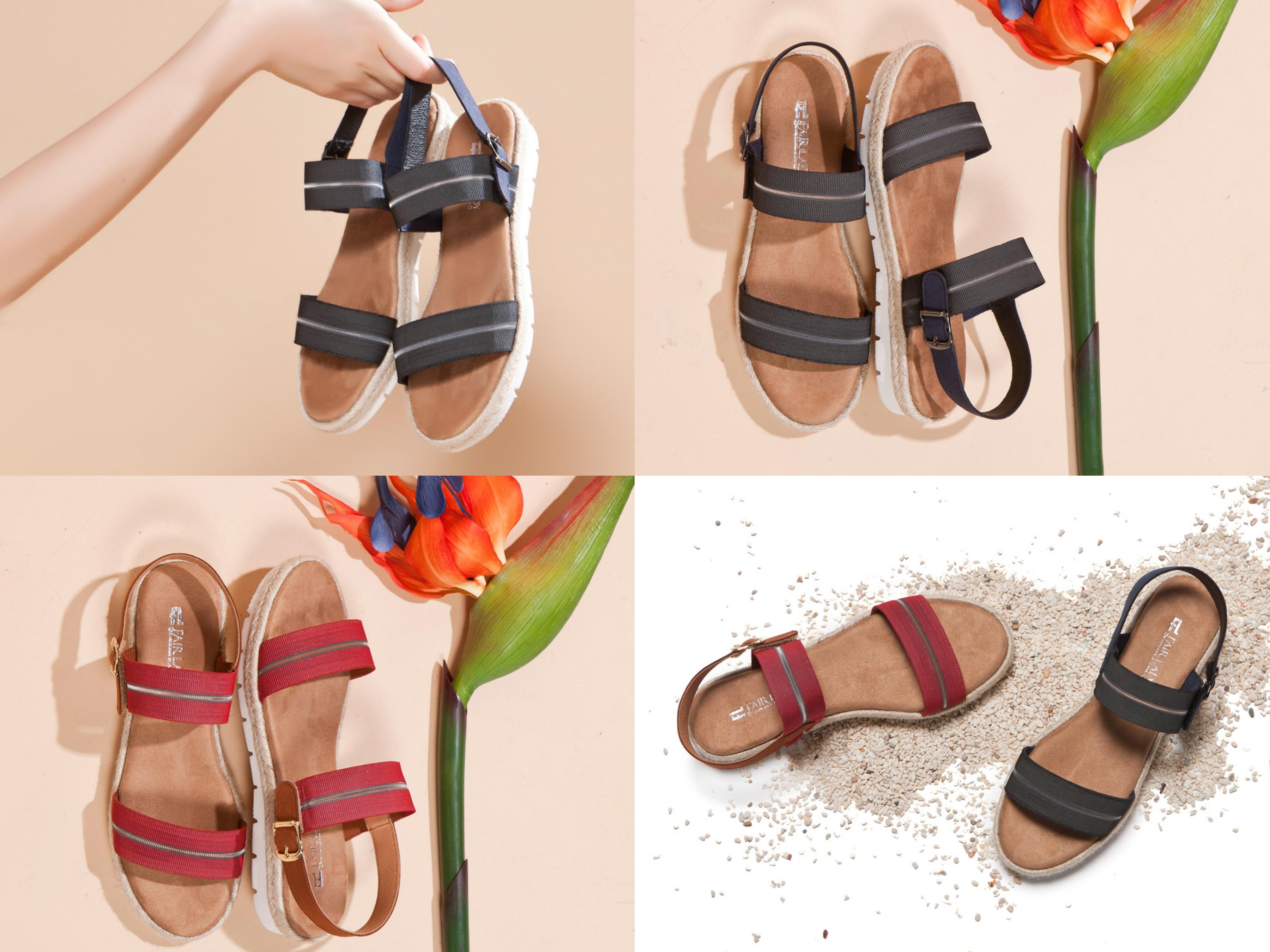 鬆緊帶拼接草編增添度假風情,彈性減壓鞋墊耐走更舒適自在