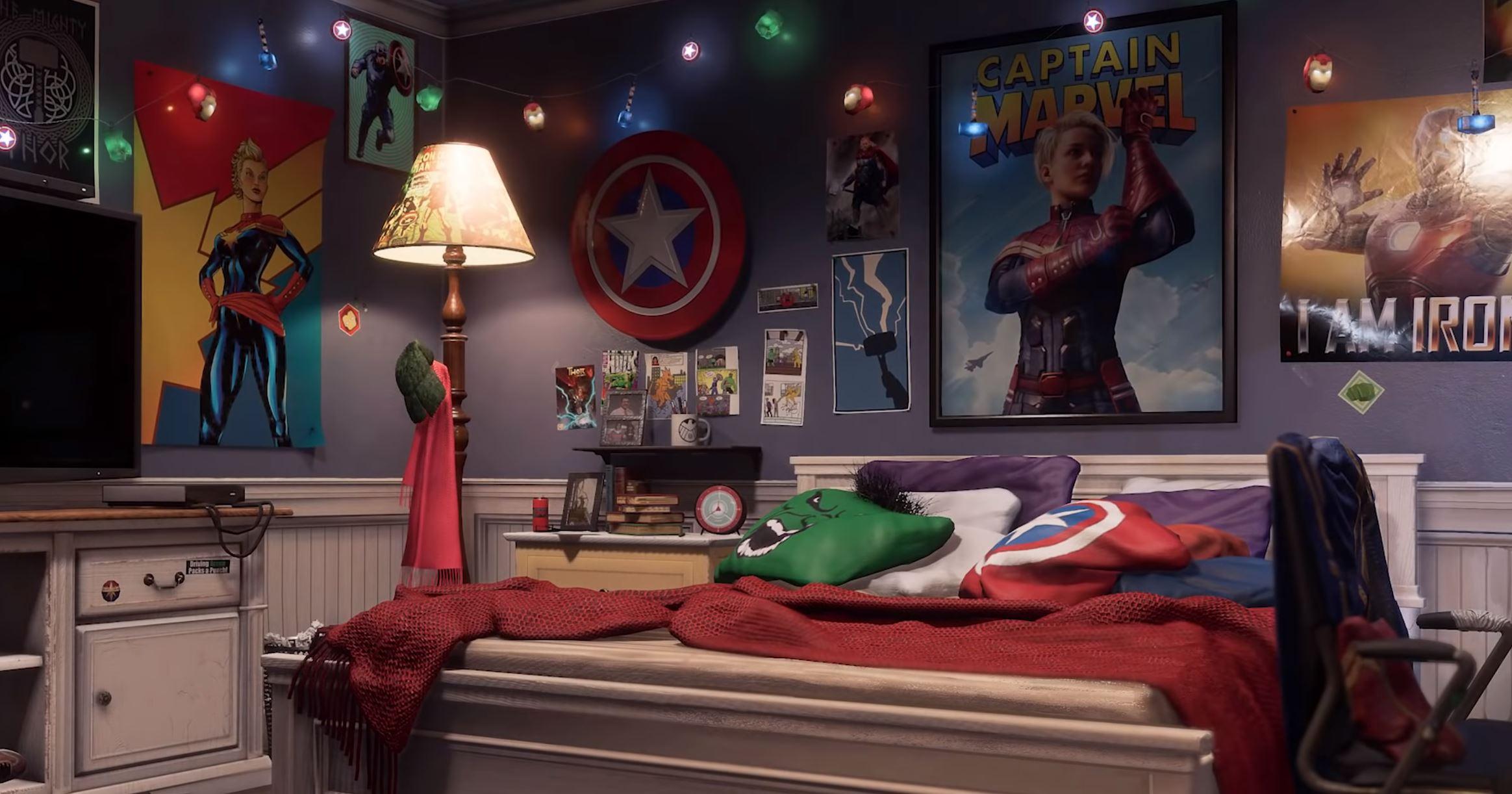 遊戲中驚奇女士的房間就有許多驚奇隊長的彩蛋。(圖源:Twitter)
