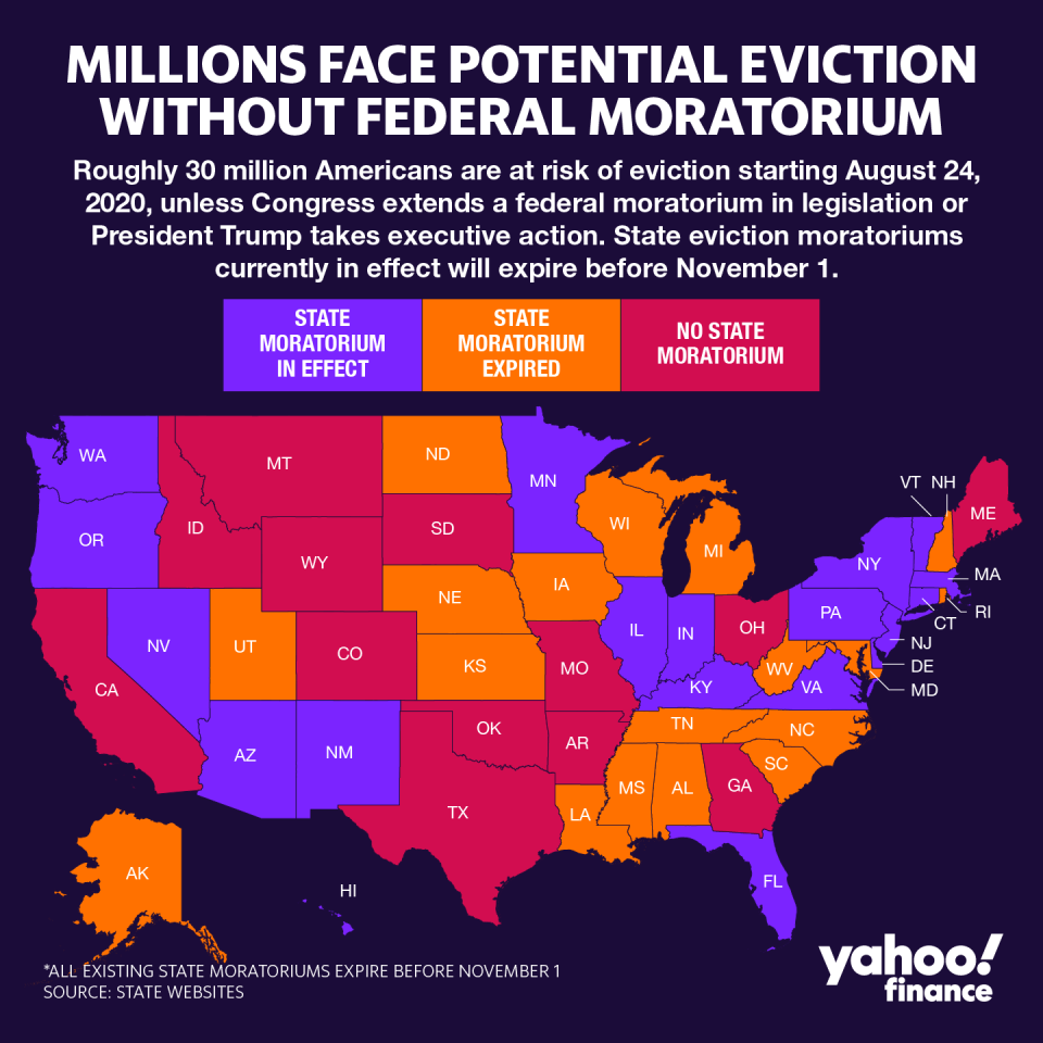 An estimated 30 to 40 million Americans are at risk of eviction over the next several months after a federal eviction moratorium for government-backed mortgages expired on July 24, according to areport from The Aspen Institute, a nonpartisan think tank. (Graphic: David Foster)