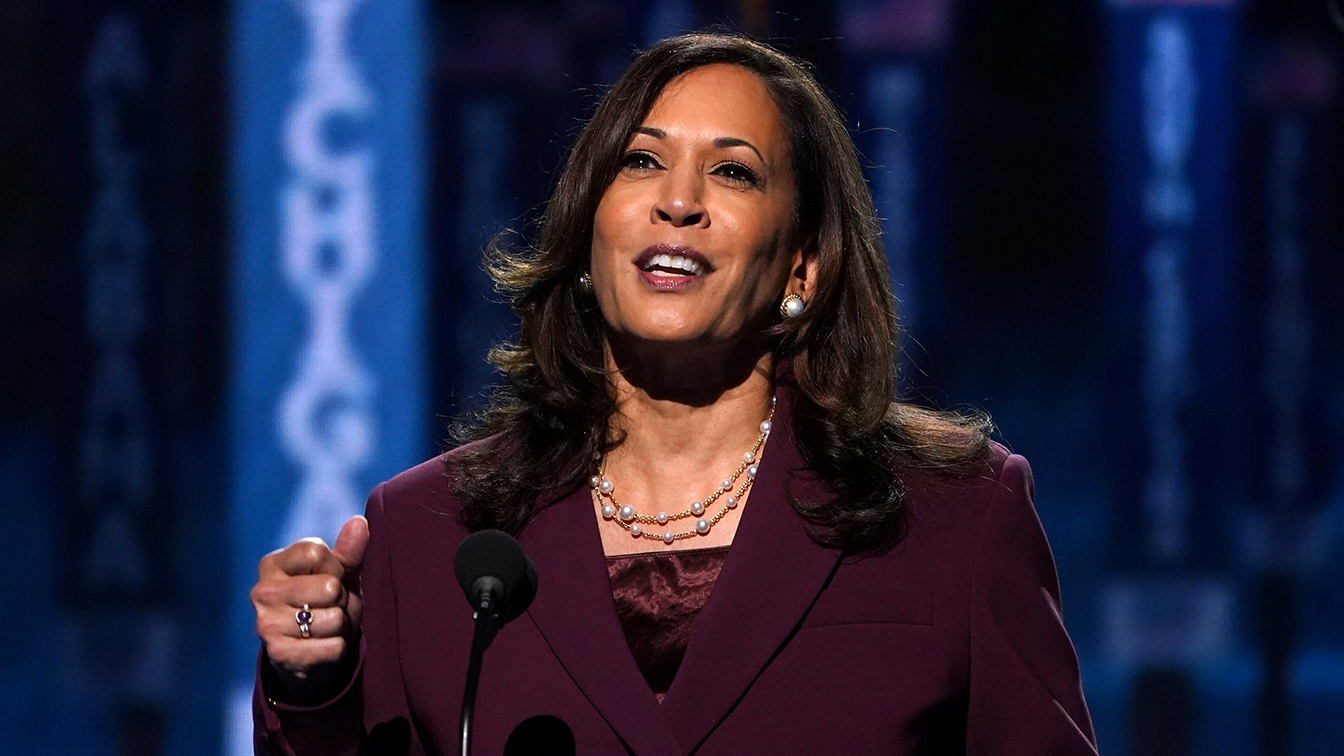 U.S. Senator Kamala Harris (D-CA) accepts the Democratic vice presidential nomination during an acceptance speech delivered for the largely virtual 2020 Democratic National Convention from the Chase Center in Wilmington, Delaware, U.S., August 19, 2020.   (Kevin Lamarque/Reuters)