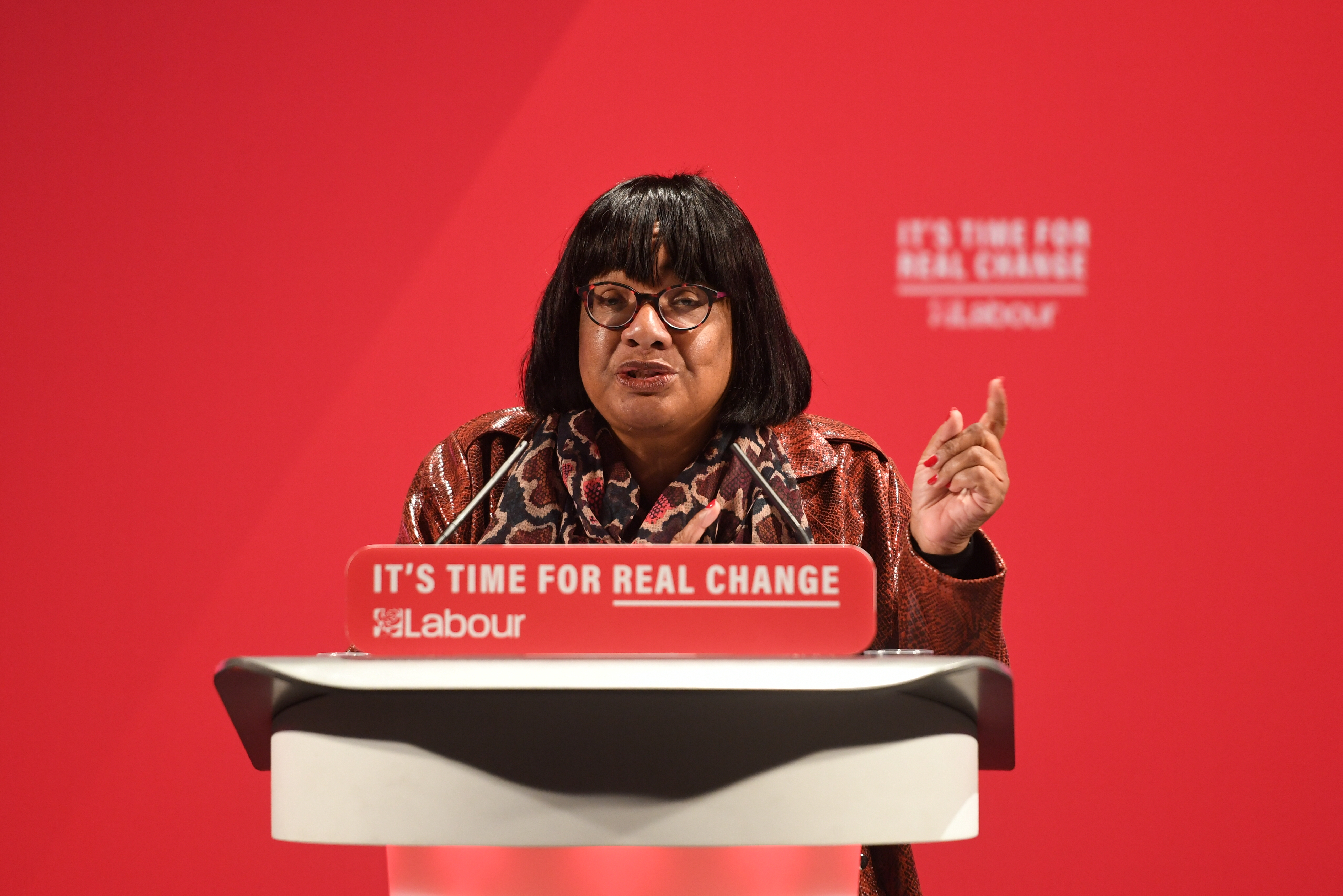 Shadow home secretary Diane Abbott at the launch of the Labour Party race and faith manifesto at the Bernie Grant Arts Centre, north London.