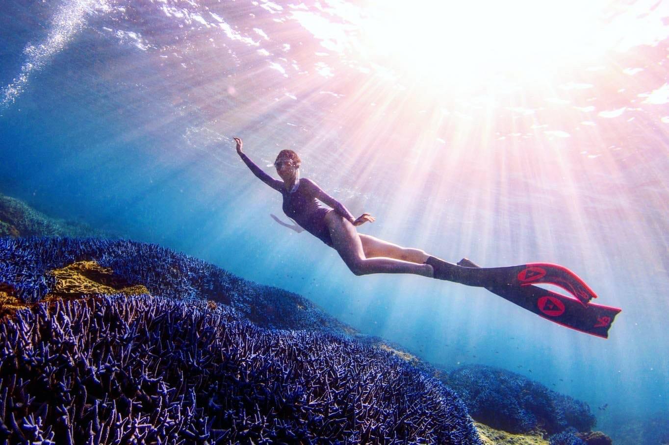 ▲康茵茵對於澎湖美麗的海域印象深刻。