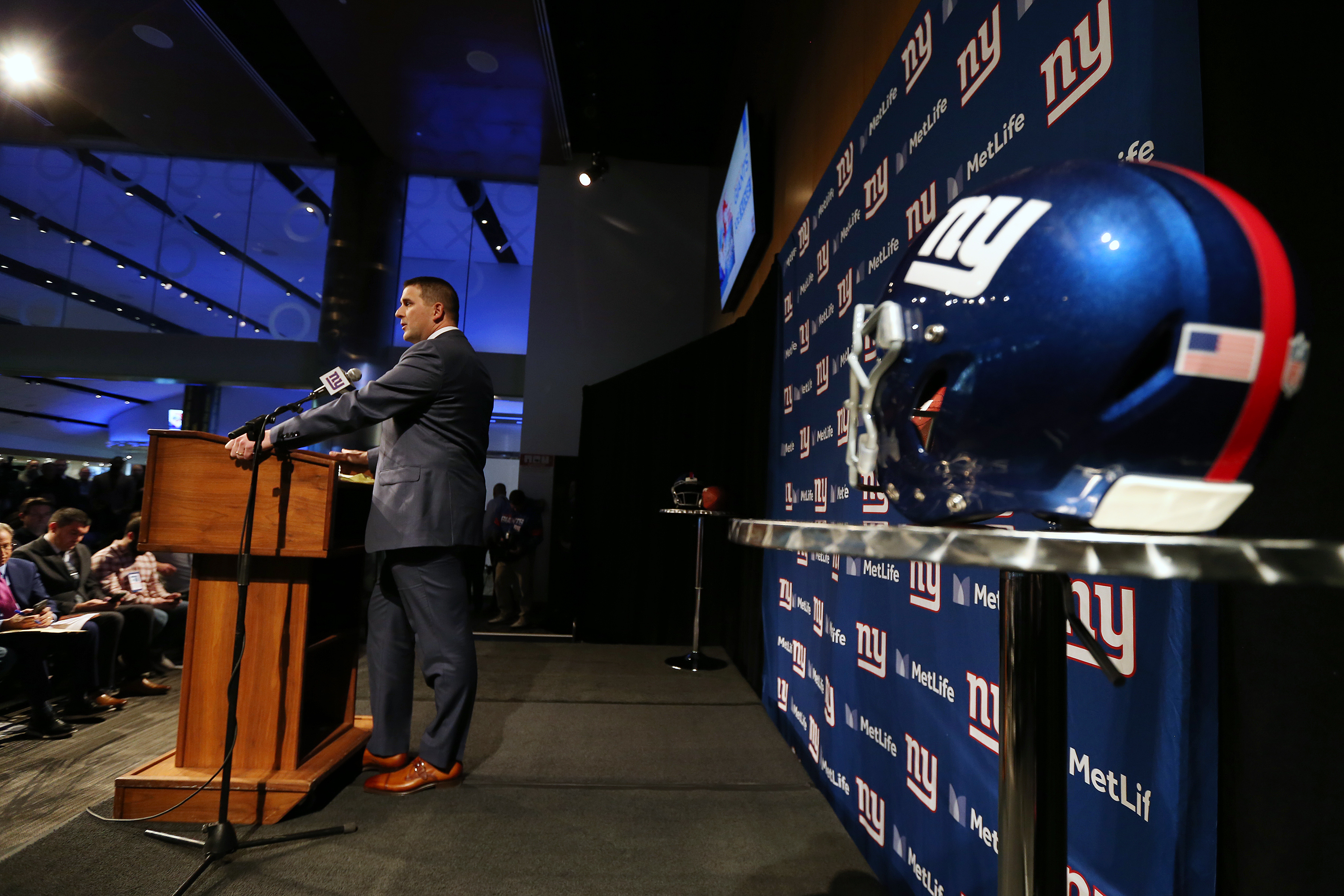 EAST RUTHERFORD, NJ - JANUARY 09: Joe Judge talks after being introduced introduced as the new head coach of the New York Giants during a news conference at MetLife Stadium on January 9, 2020 in East Rutherford, New Jersey. (Photo by Rich Schultz/Getty Images)