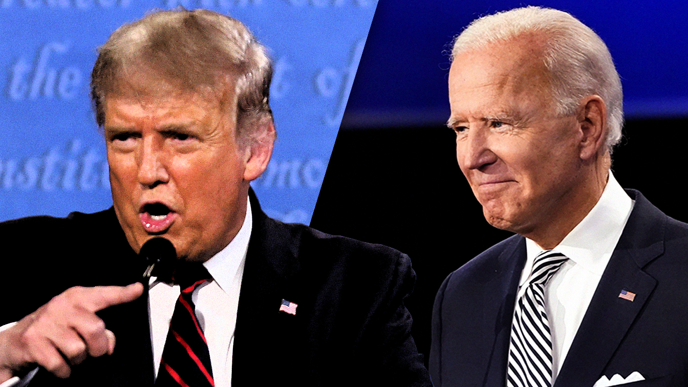 President Donald Trump and Joe Biden during first presidential debate on Sept. 29, 2020, at Case Western University and Cleveland Clinic, in Cleveland, Ohio. (Phot illustration: Yahoo News; photos: Brian Snyder/Reuters, Julio Cortez/AP)
