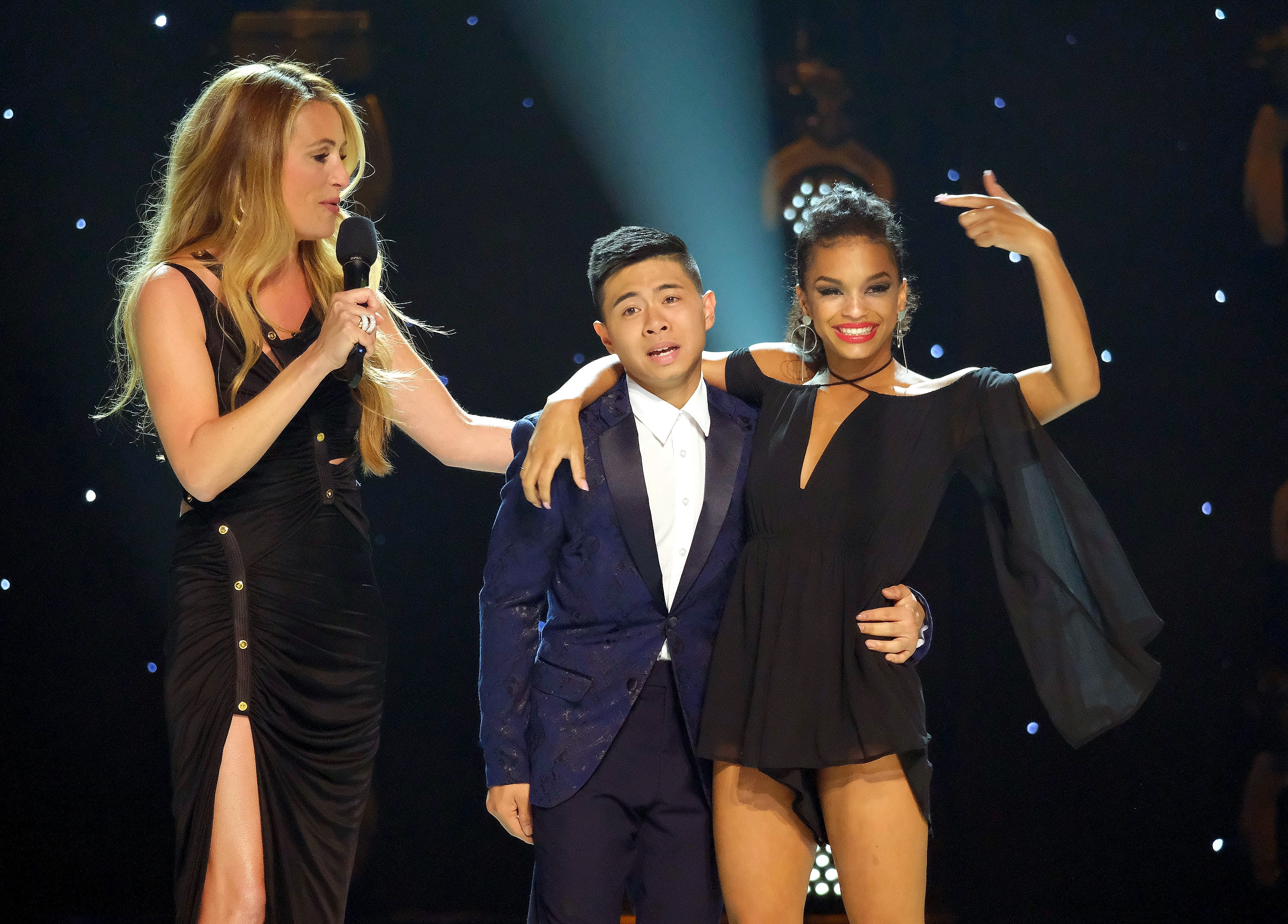 SO YOU THINK YOU CAN DANCE: FINALE: Host Cat Deeley (L) announces Americas favorite dancer Bailey Munoz (C) and runner-up Mariah Russell (R) on the Season Finale of SO YOU THINK YOU CAN DANCE airing live, Monday, Sept. 16 (8:00-10:00 PM ET/PT) on FOX. (Photo by FOX via Getty Images)