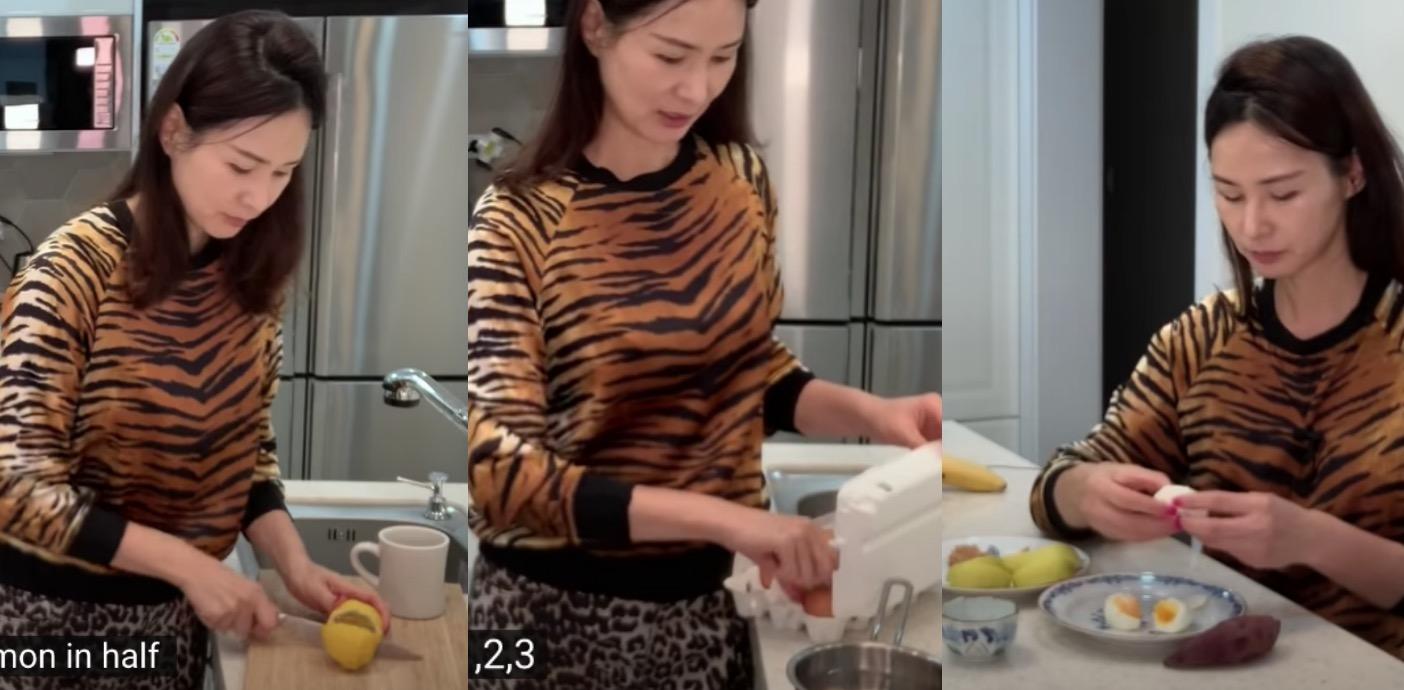 午餐很簡單,李素拉會吃水煮蛋加點鹽、一顆蘋果、一條地瓜和一杯溫熱檸檬水,蘋果盤上會放一湯匙的花生醬,吃蘋果的時候沾點花生醬再吃。李素拉表示偶爾也會吃牛排,但她不是很喜歡吃肉,只有當身體感覺到想吃肉的時候才攝取。