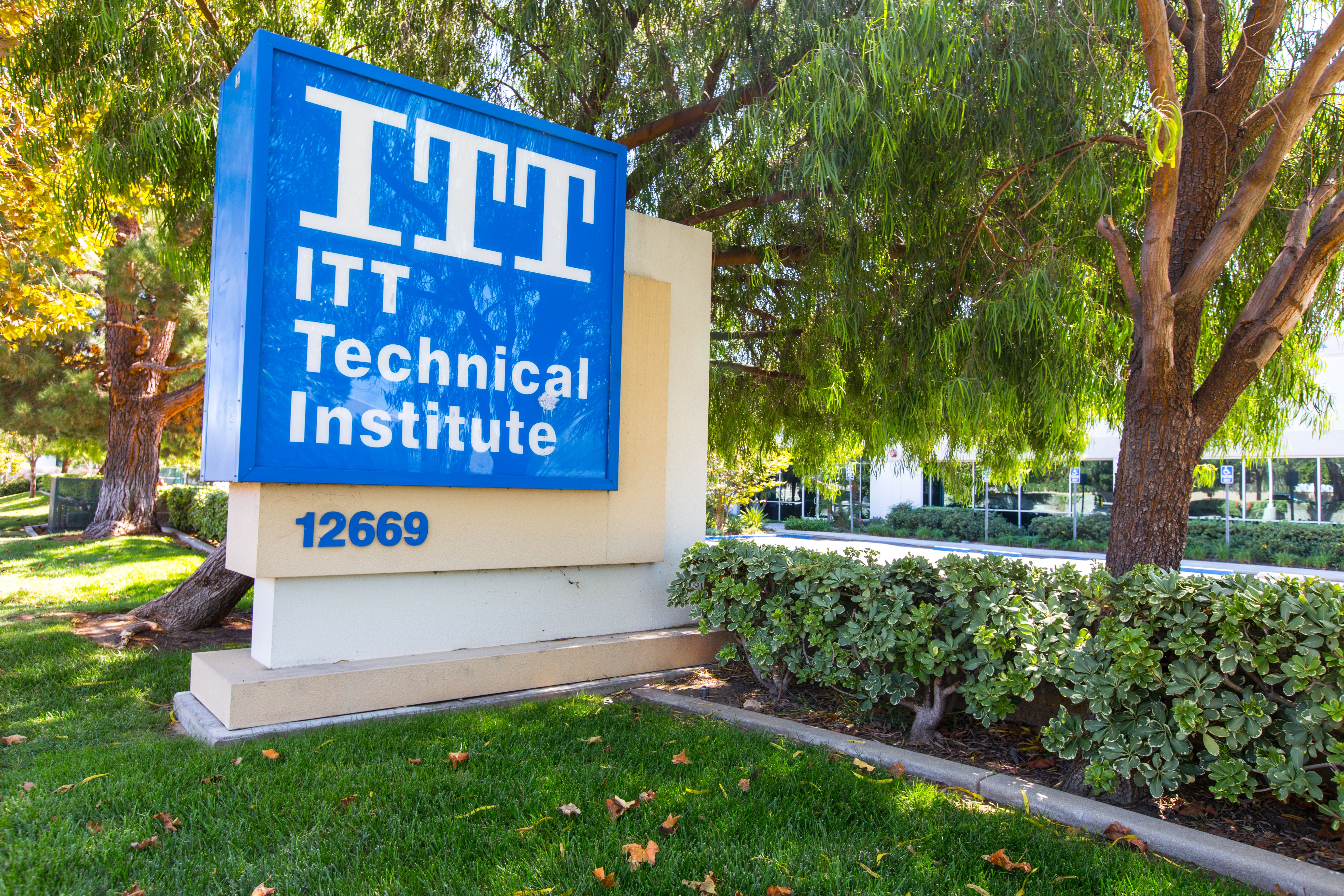 Sylmar CA - September 18, 2016:  ITT Educational Services Headquarter in Indiana. ITT Technical Institute has decided to close all its campuses in the wake of devastating federal sanctions. The school shows its doors closed days after it file for bankruptcy for misleading students into high amounts of debt.