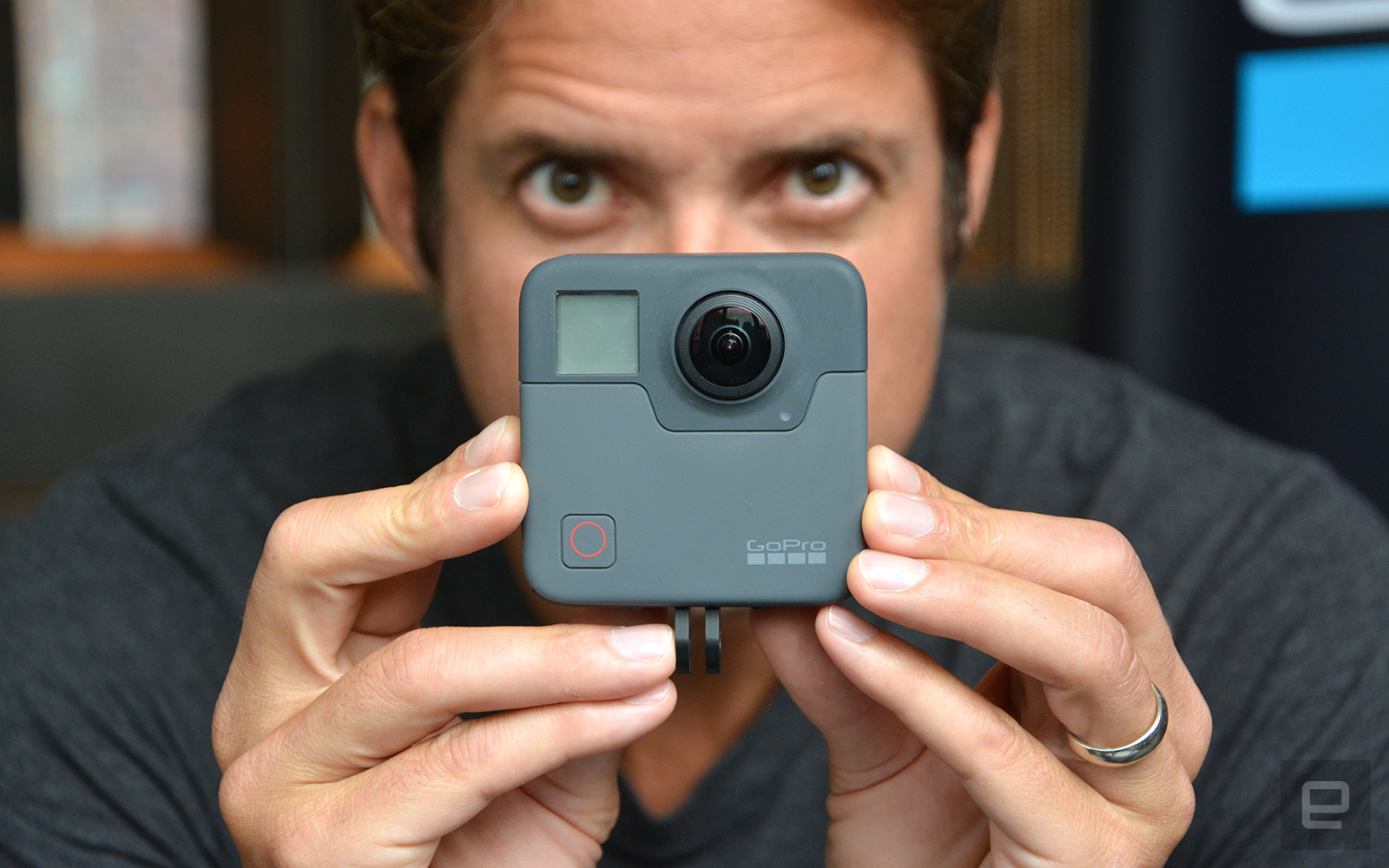 GoPro CEO Nick Woodman showing off a Fusion.