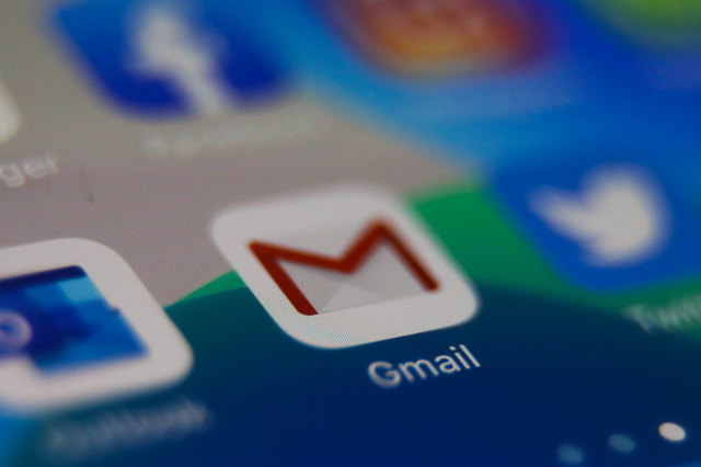 Gmail icon is seen displayed on phone screen in this illustration photo taken in Poland on February 20, 2020. (Photo illustration byJakub Porzycki/NurPhoto)