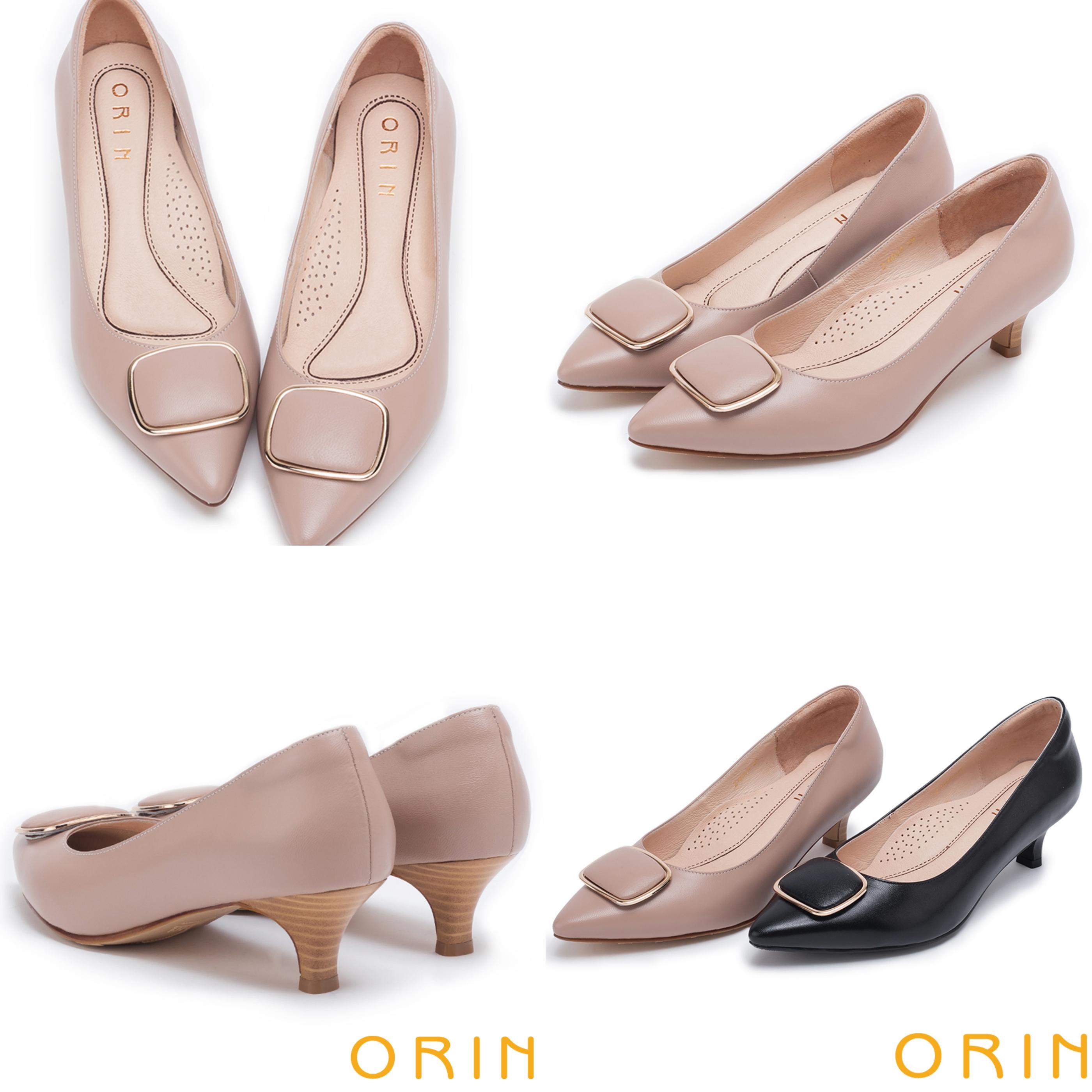 經典款方型飾釦修飾腳型的尖頭鞋型,讓春夏也要復古味十足