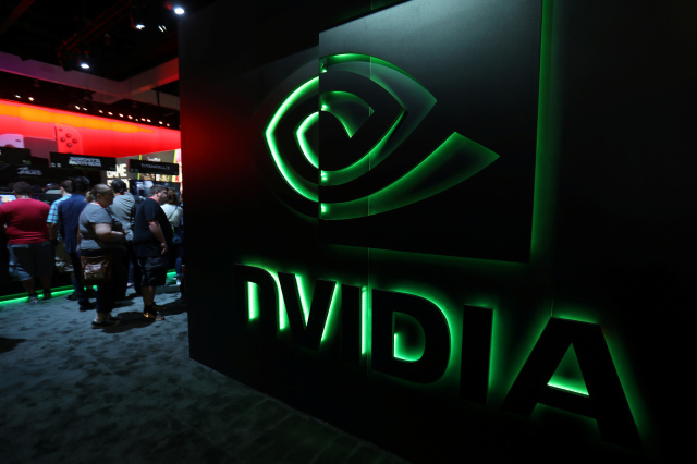 The nVIDIA booth is shown at the E3 2017 Electronic Entertainment Expo in Los Angeles, California, U.S. June 13, 2017.  REUTERS/ Mike Blake - RC136480D120