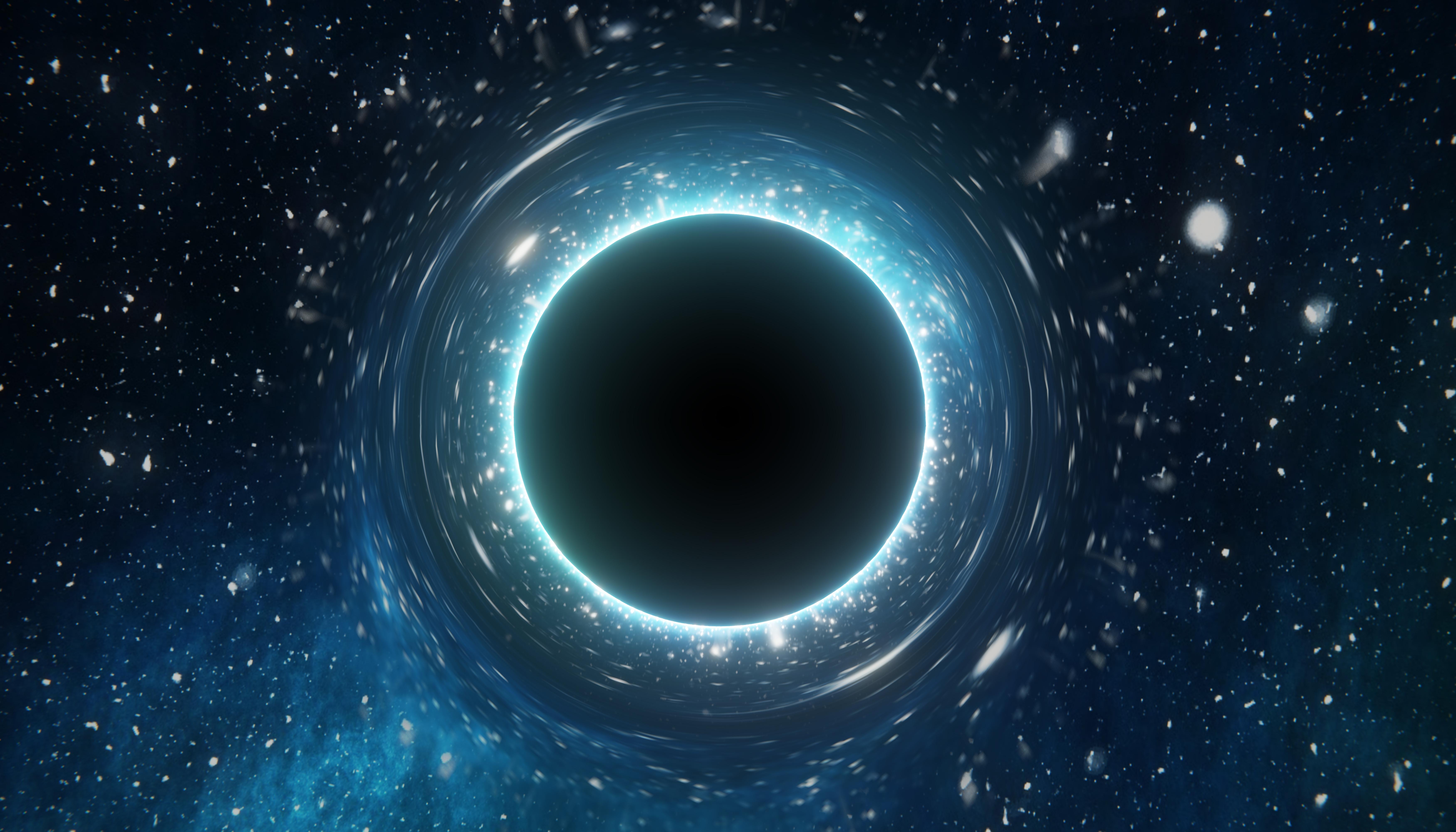 Singularity of massive black hole. 3D rendered illustration.