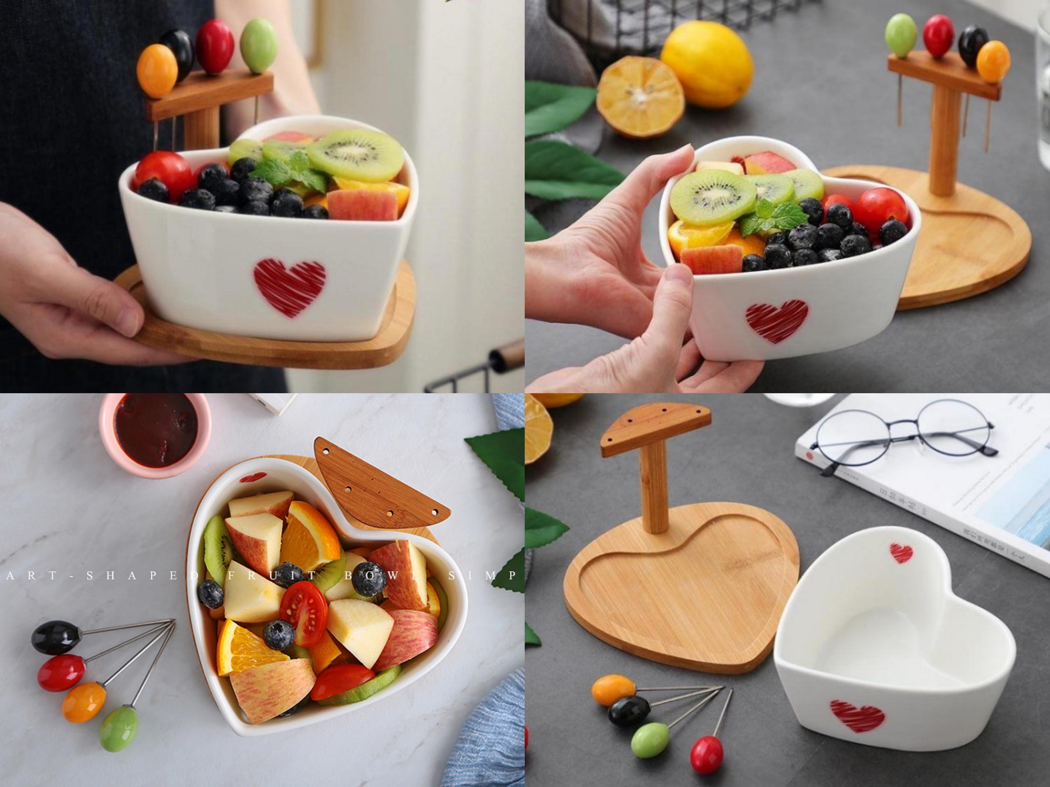 可愛討喜的心型設計的水果碗,底部還有防滑設計