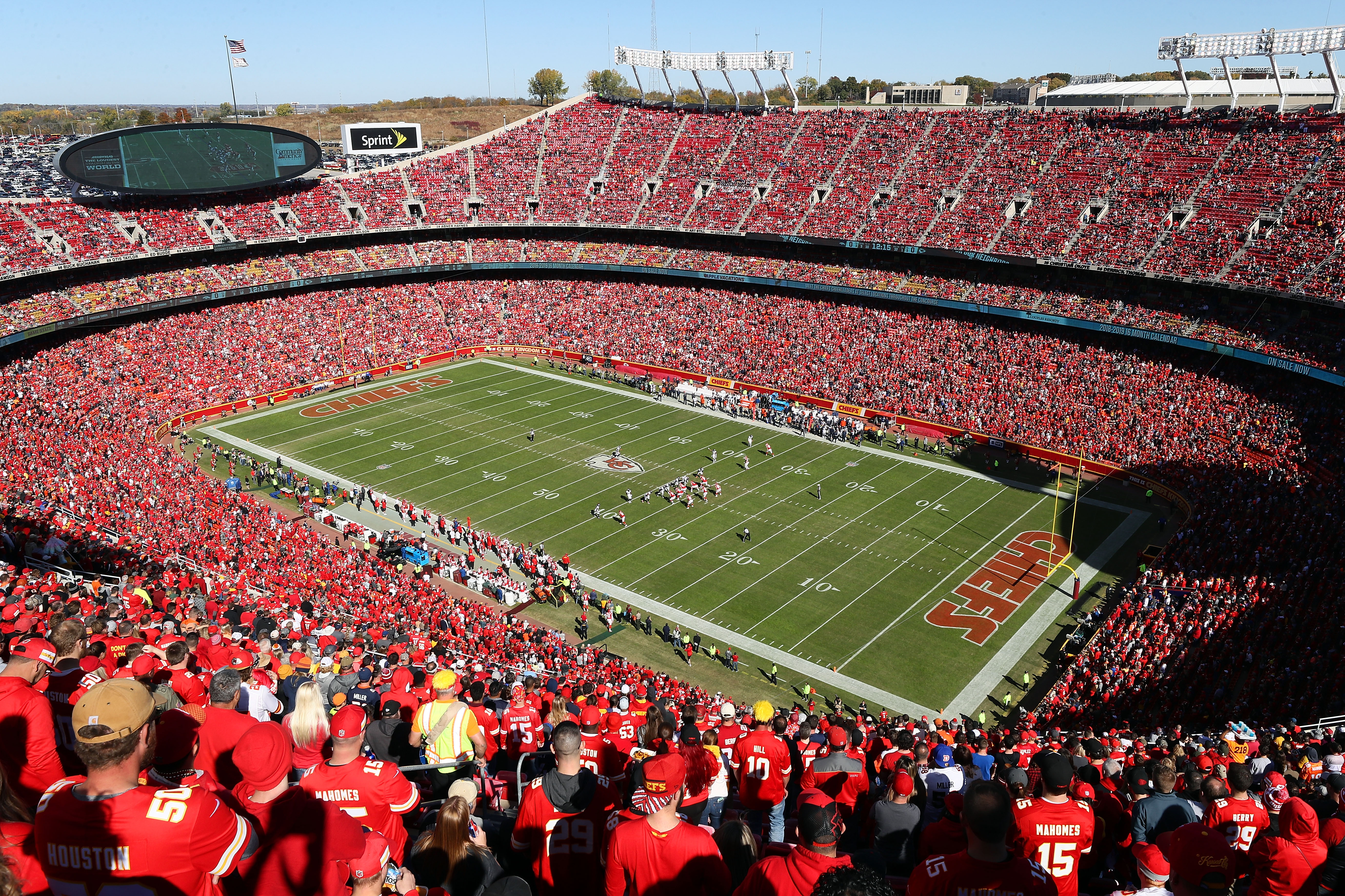 KANSAS CITY, MO - OCTOBER 28: A general view of Arrowhead stadium during the game between the Denver Broncos and the Kansas City Chiefs 28, 2018 in Kansas City, Missouri. (Photo by Jamie Squire/Getty Images)