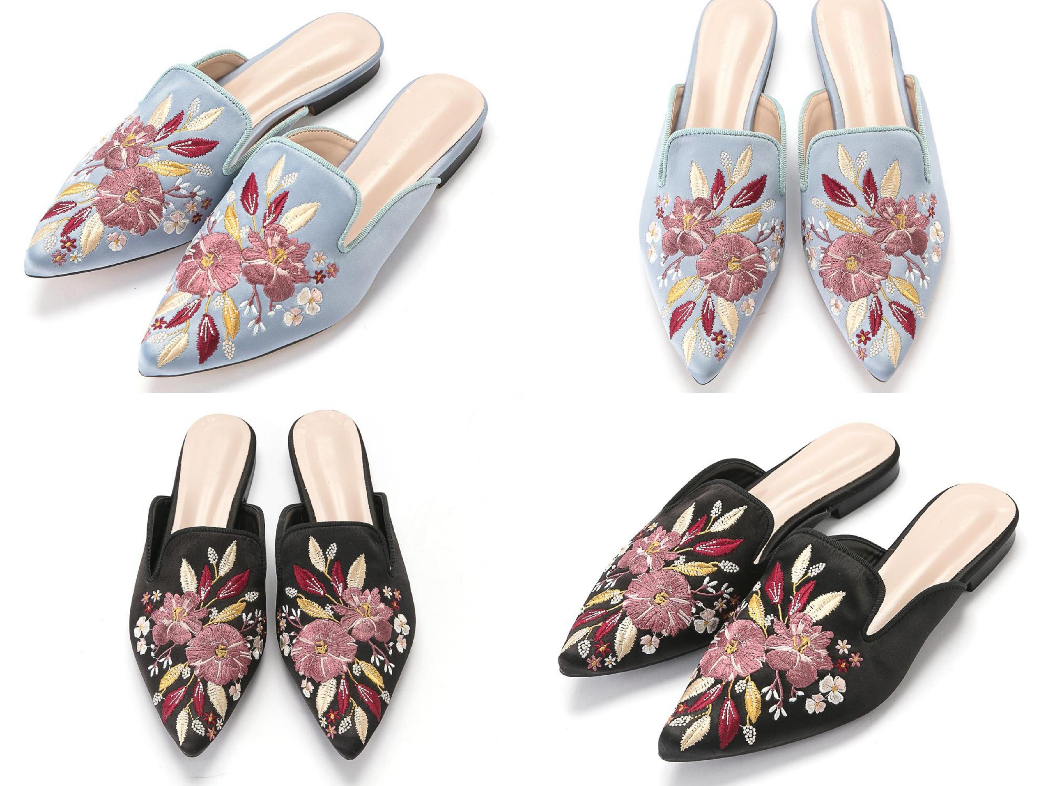 精緻古典花朵刺繡,時尚尖頭包頭脫鞋,加上V口設計拉長腳部線條