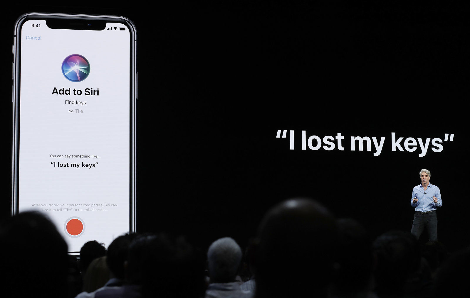 Craig Federighi, Apple's senior vice president of Software Engineering, speaks about Siri during an announcement of new products at the Apple Worldwide Developers Conference Monday, June 4, 2018, in San Jose, Calif. (AP Photo/Marcio Jose Sanchez)