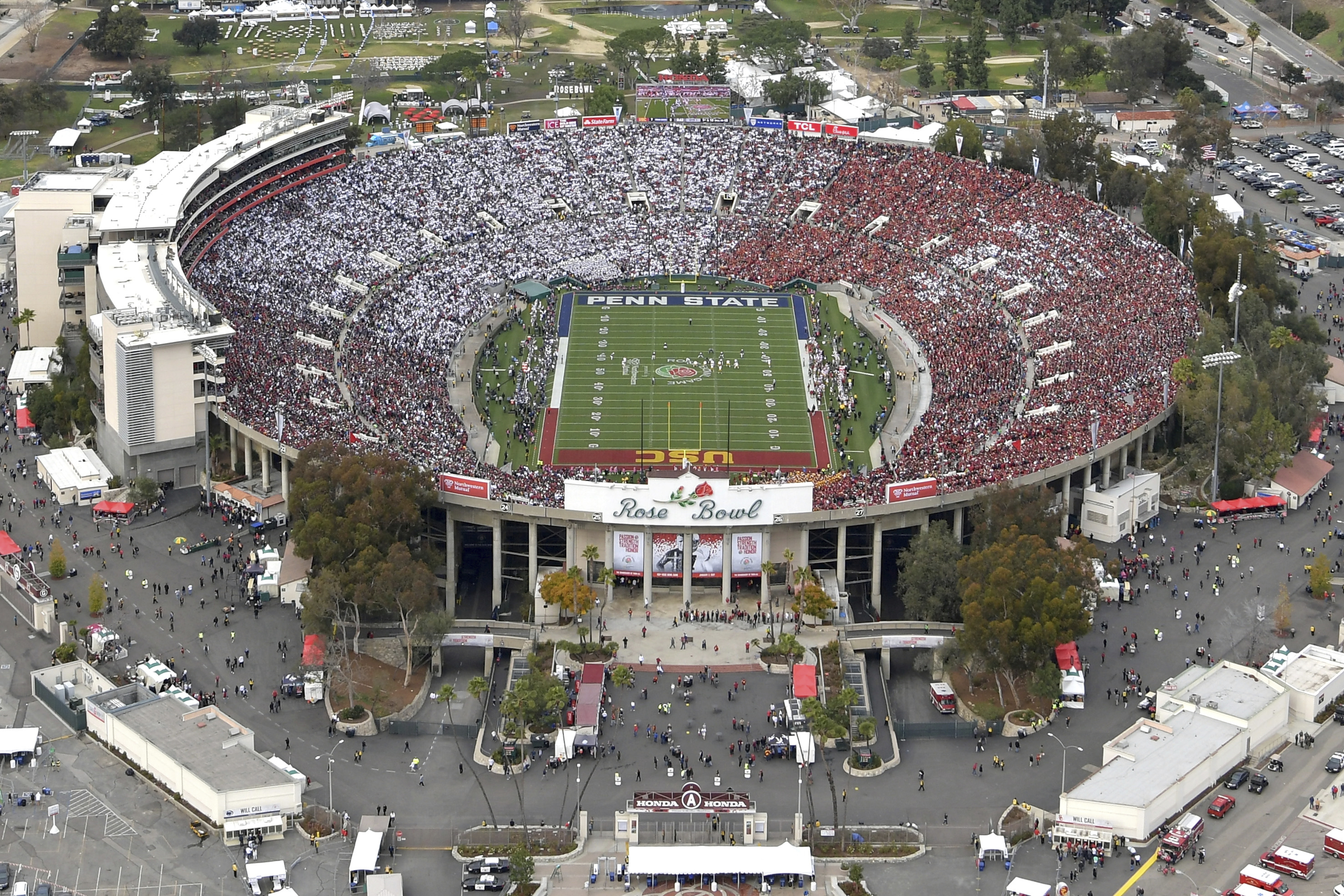 An aerial view of the Rose Bowl stadium prior to the Rose Bowl NCAA college football game between Southern California and Penn State on Monday, Jan. 2, 2017, in Pasadena, Calif. (The Tournament of Roses via AP Pool)
