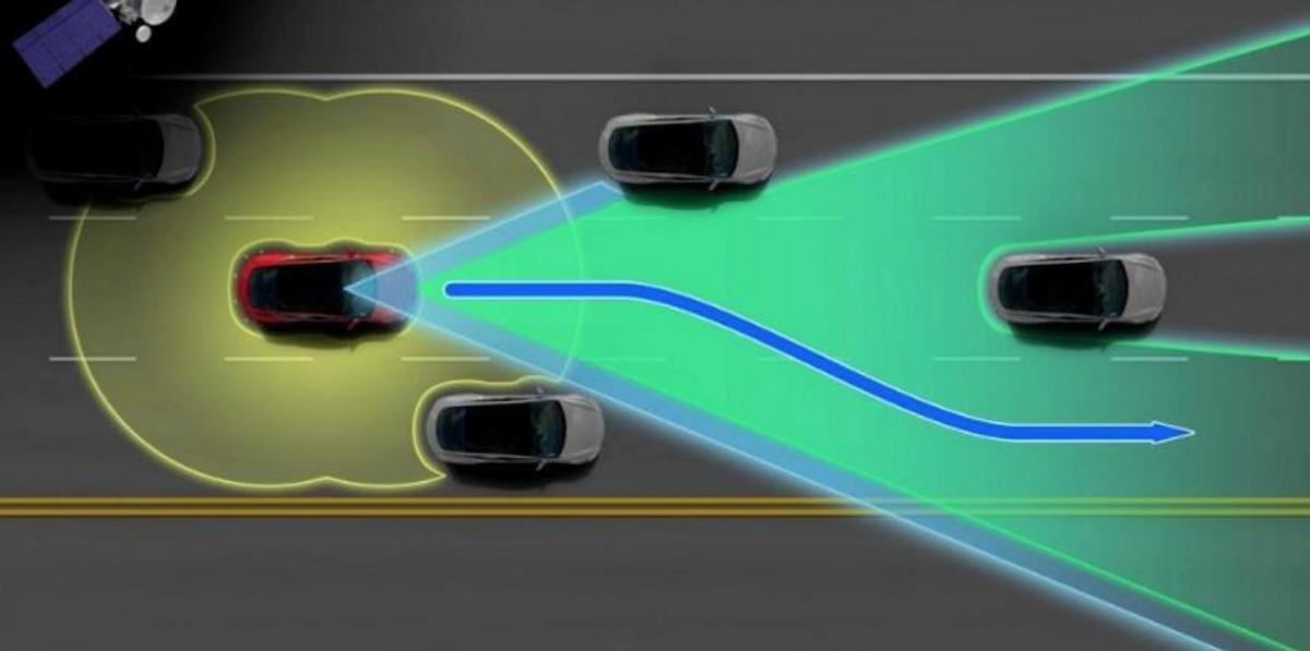 Tesla 新增超車後維持超車道繼續行駛的功能。