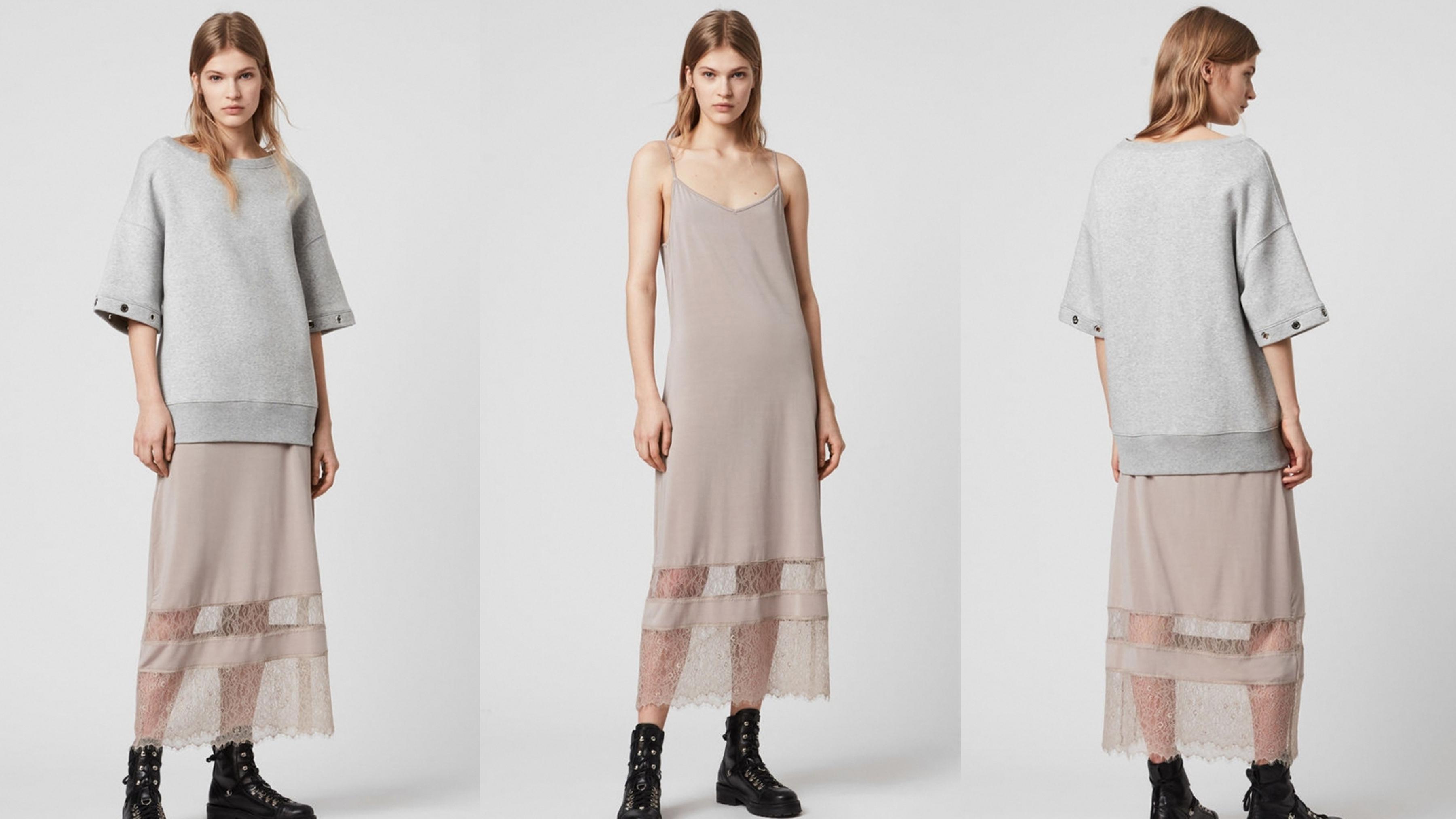 兩件式蕾絲連身裙採兩件式造型,可單穿也可混搭