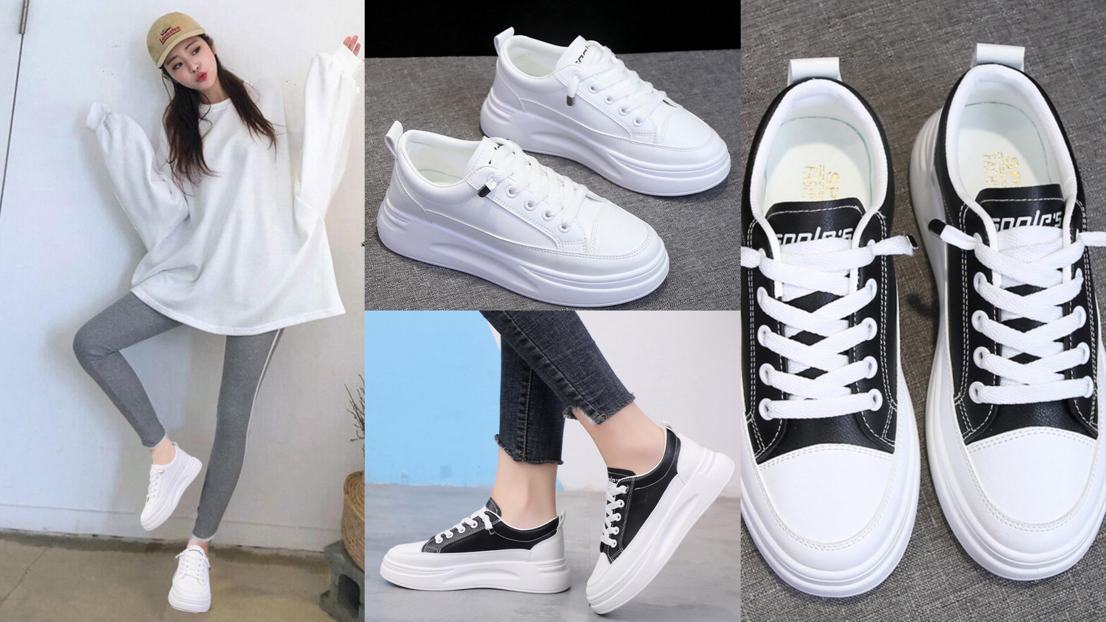 鞋櫃裡一定要有的必備百搭小白鞋,心機的厚底增高設計,讓腿部比例神級修長