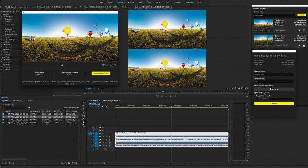 Adobe Premiere Pro with Insta360 plug-in