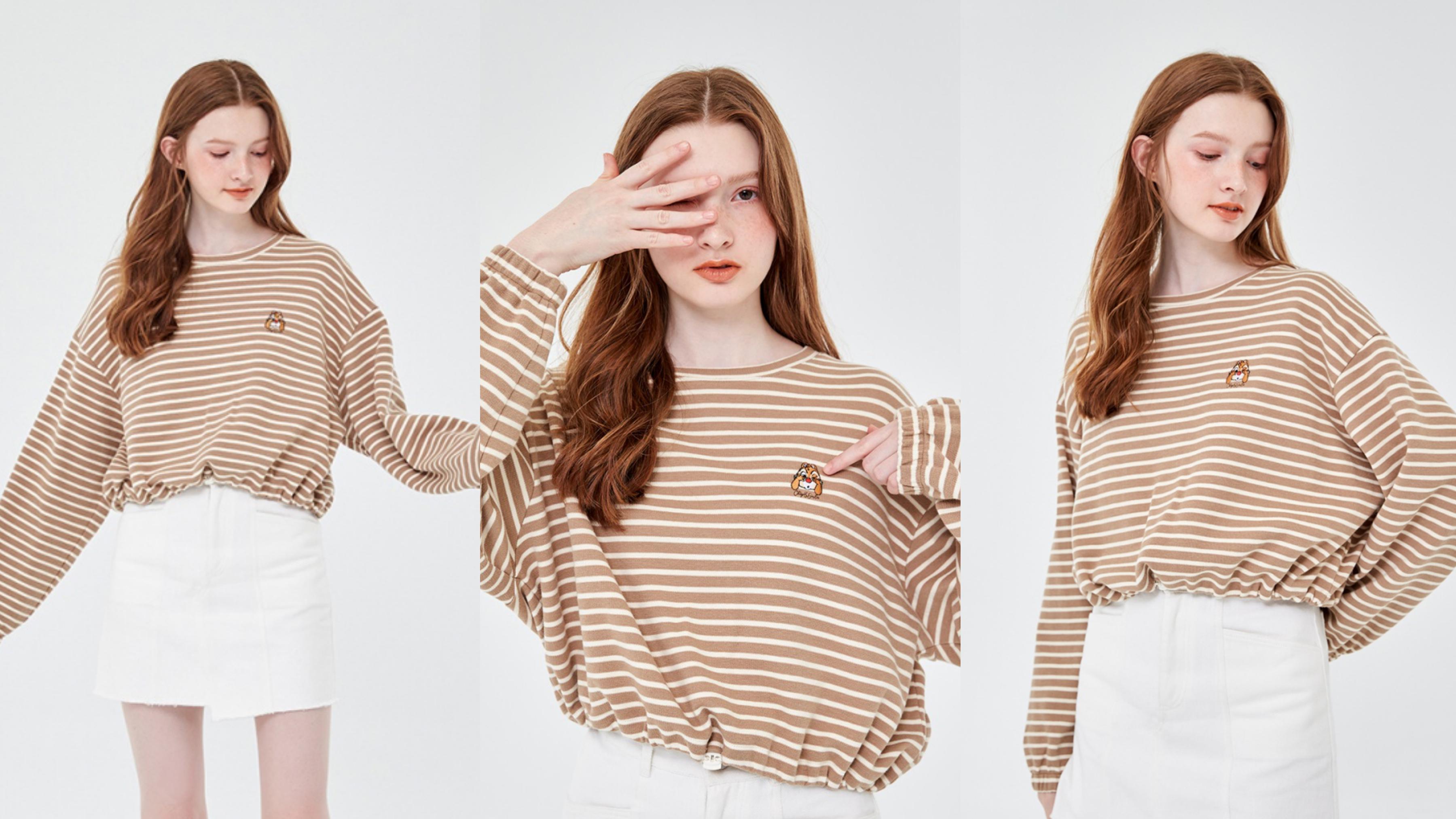 落肩澎澎感抽繩設計的條紋上衣,穿上好顯瘦好修身,而受歡迎的奶茶色,展現出溫柔小姐姐的氣質,