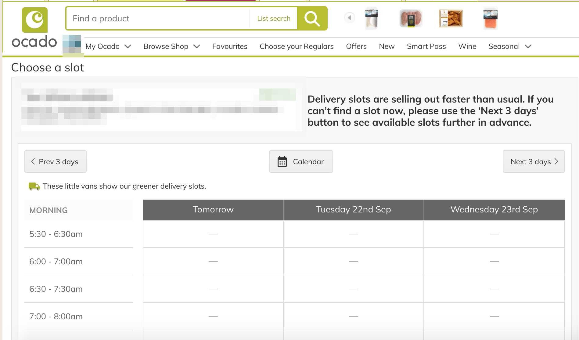A statement on the Ocado website said delivery slots were 'selling out faster than usual'. (Ocado)