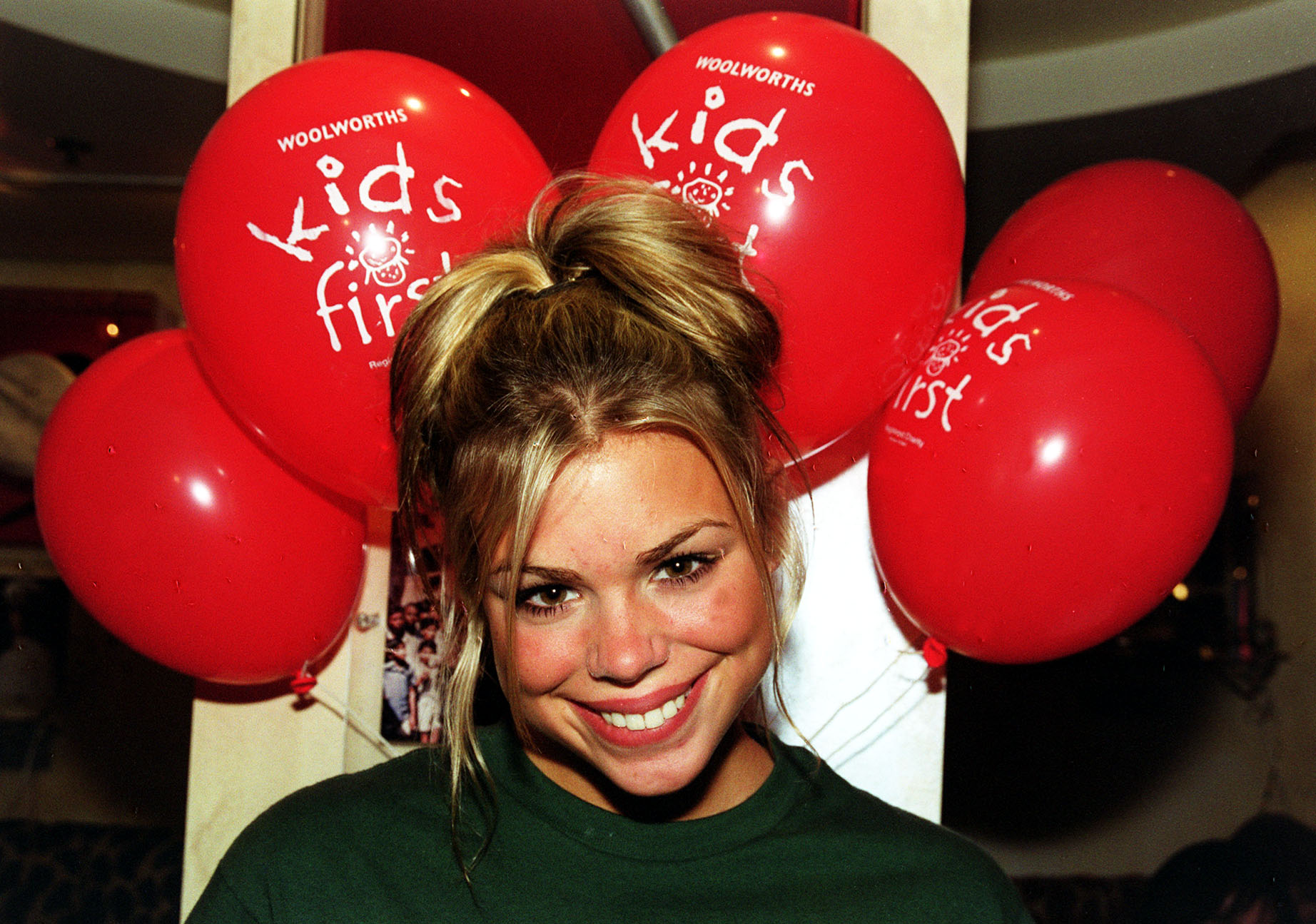 """Teenage pop singer Billie Piper at Planet Hollywood in London, to celebrate the first birthday of Woolworths """"Kids First"""".   (Photo by Tony Harris - PA Images/PA Images via Getty Images)"""