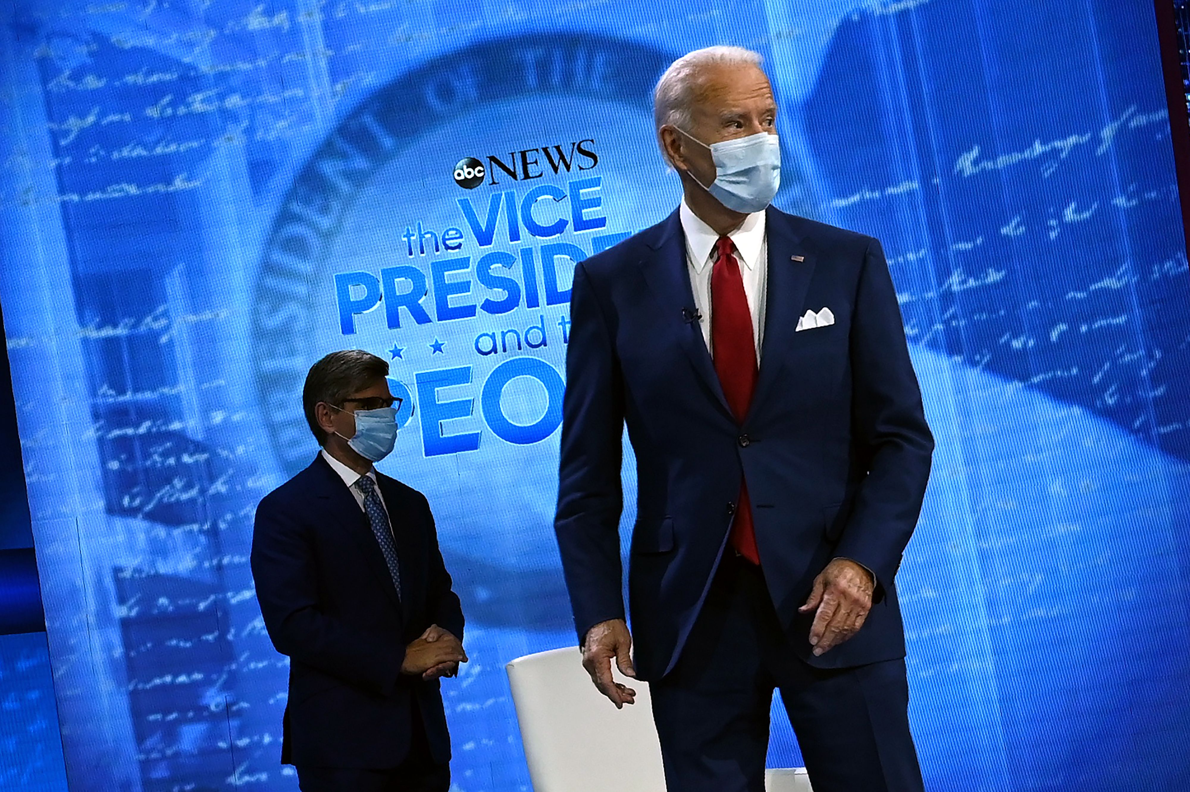 Joe Biden, right, and George Stephanopoulos