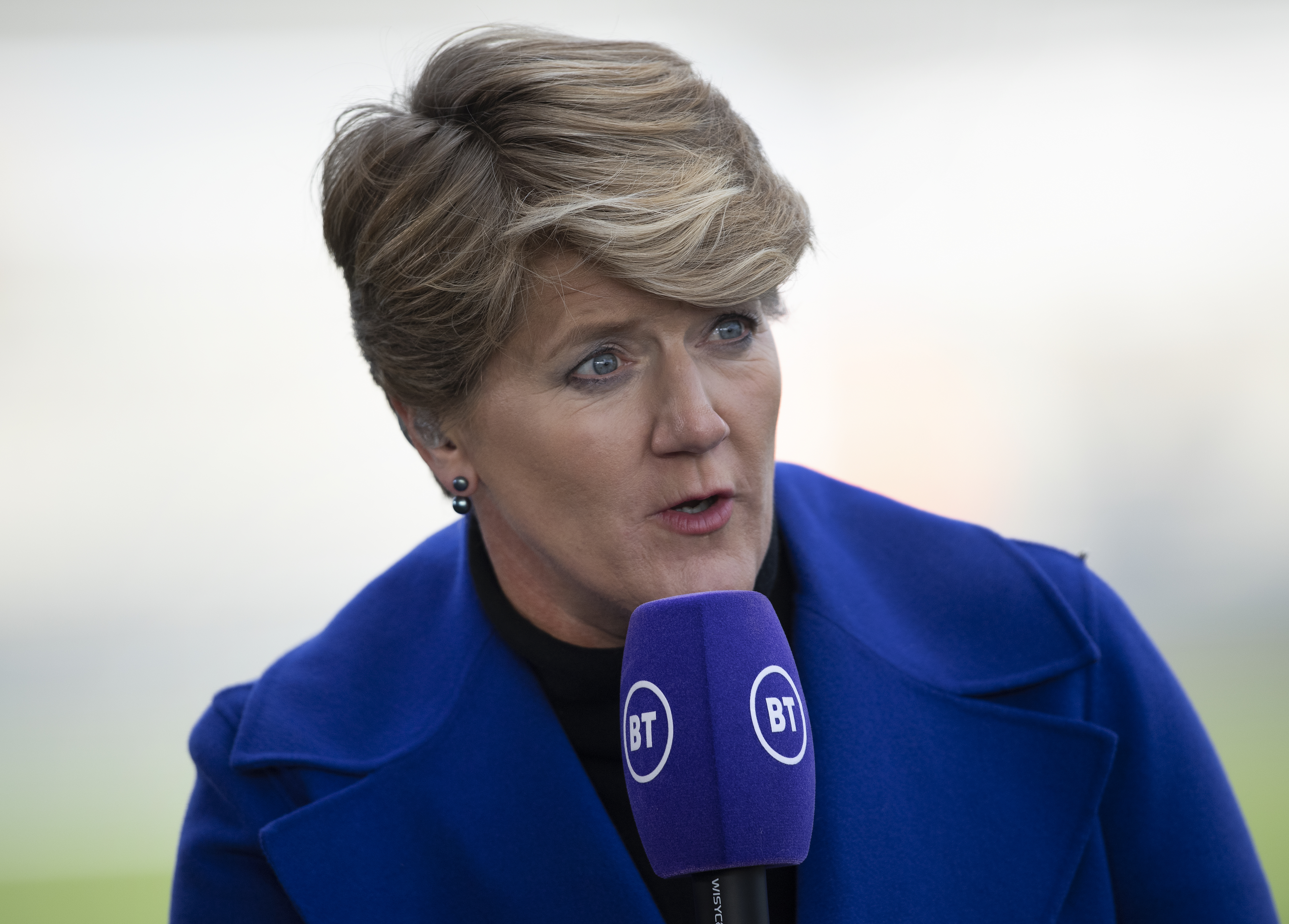MANCHESTER, ENGLAND - FEBRUARY 23: BT Sport Television presenter Clare Balding before the Barclays FA Women's Super League match between Manchester City and Chelsea at The Academy Stadium on February 23, 2020 in Manchester, United Kingdom. (Photo by Visionhaus)