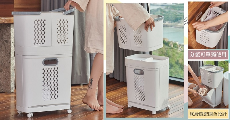 ▲韓式帶輪三層分類髒衣籃超值78折,可拆分多元使用方式提升家事效率。(圖片來源:Yahoo購物中心)