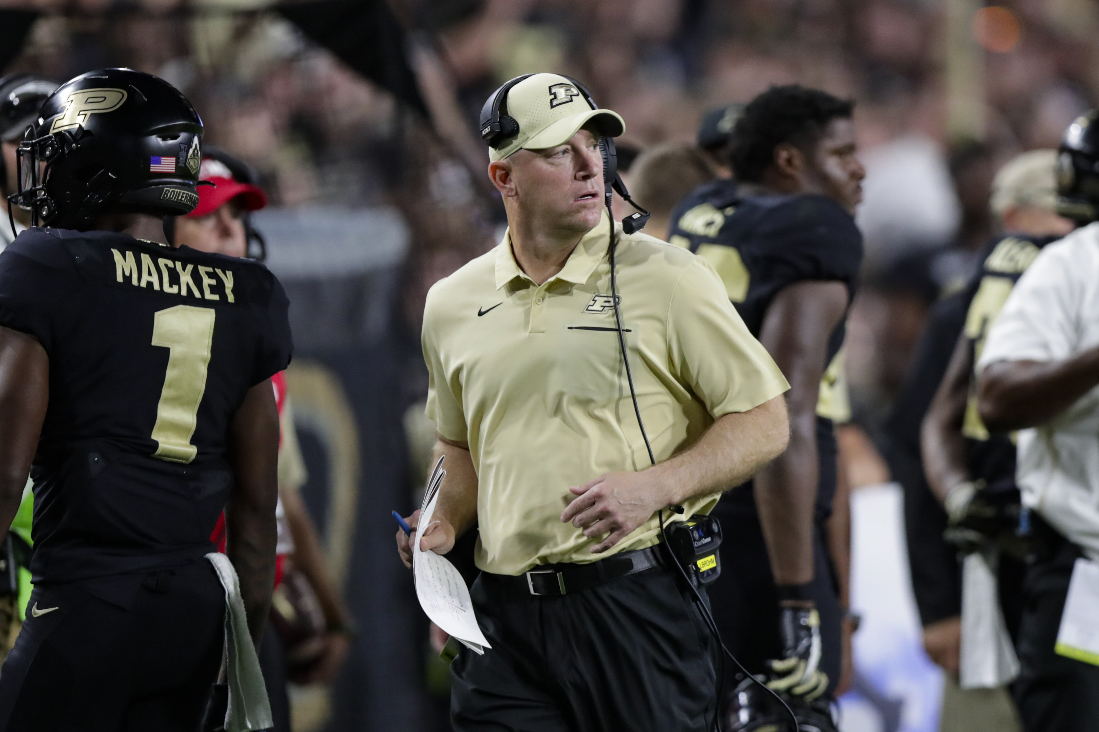 Purdue head coach Jeff Brohm during the second half of an NCAA college football game against TCU in West Lafayette, Ind., Saturday, Sept. 14, 2019. (AP Photo/Michael Conroy)