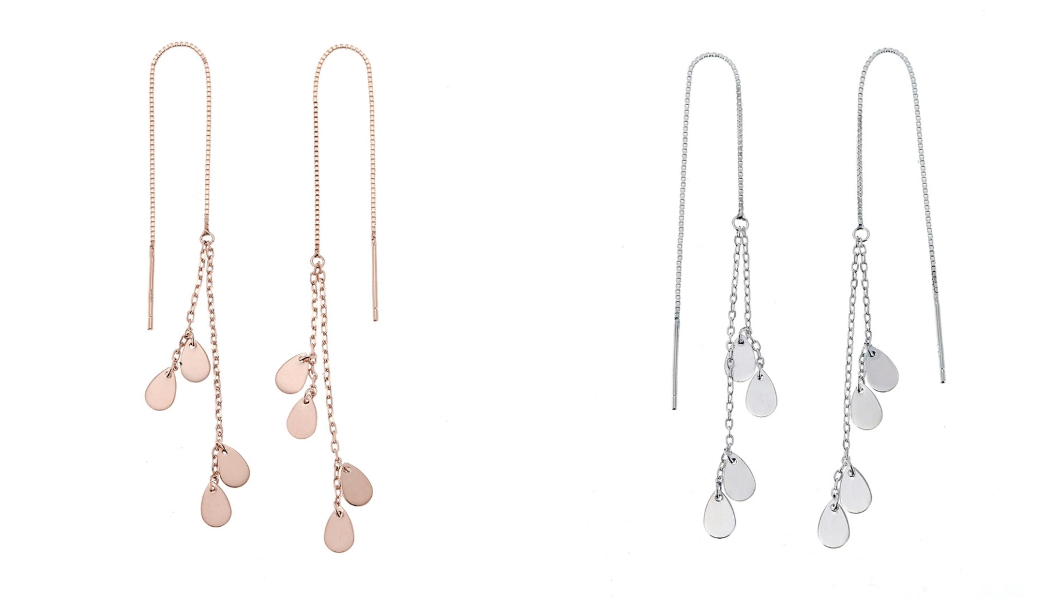 數條純銀飾鍊身交織組合成的層次感,銀鍊下垂吊著純銀水滴造型如同歲月流逝物換星移