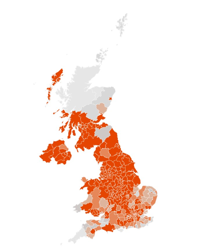 The predicted areas where cases will be above 100 per 100,000 by the end of October. The darker the shade of orange the higher the probability.(Imperial College London)