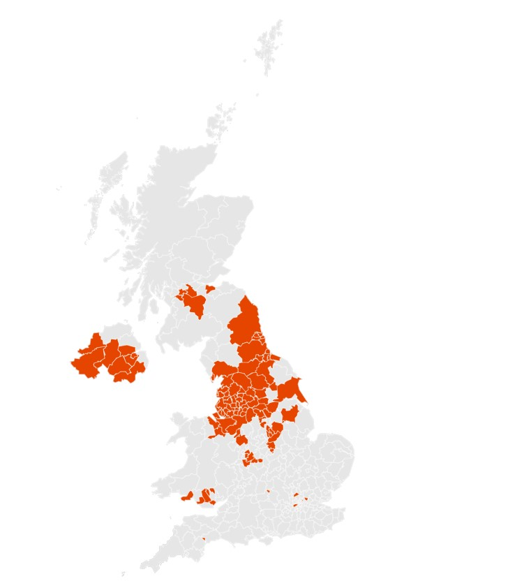 The number of areas currently in the UK that have more than 100 cases per 100,000. (Imperial College London)