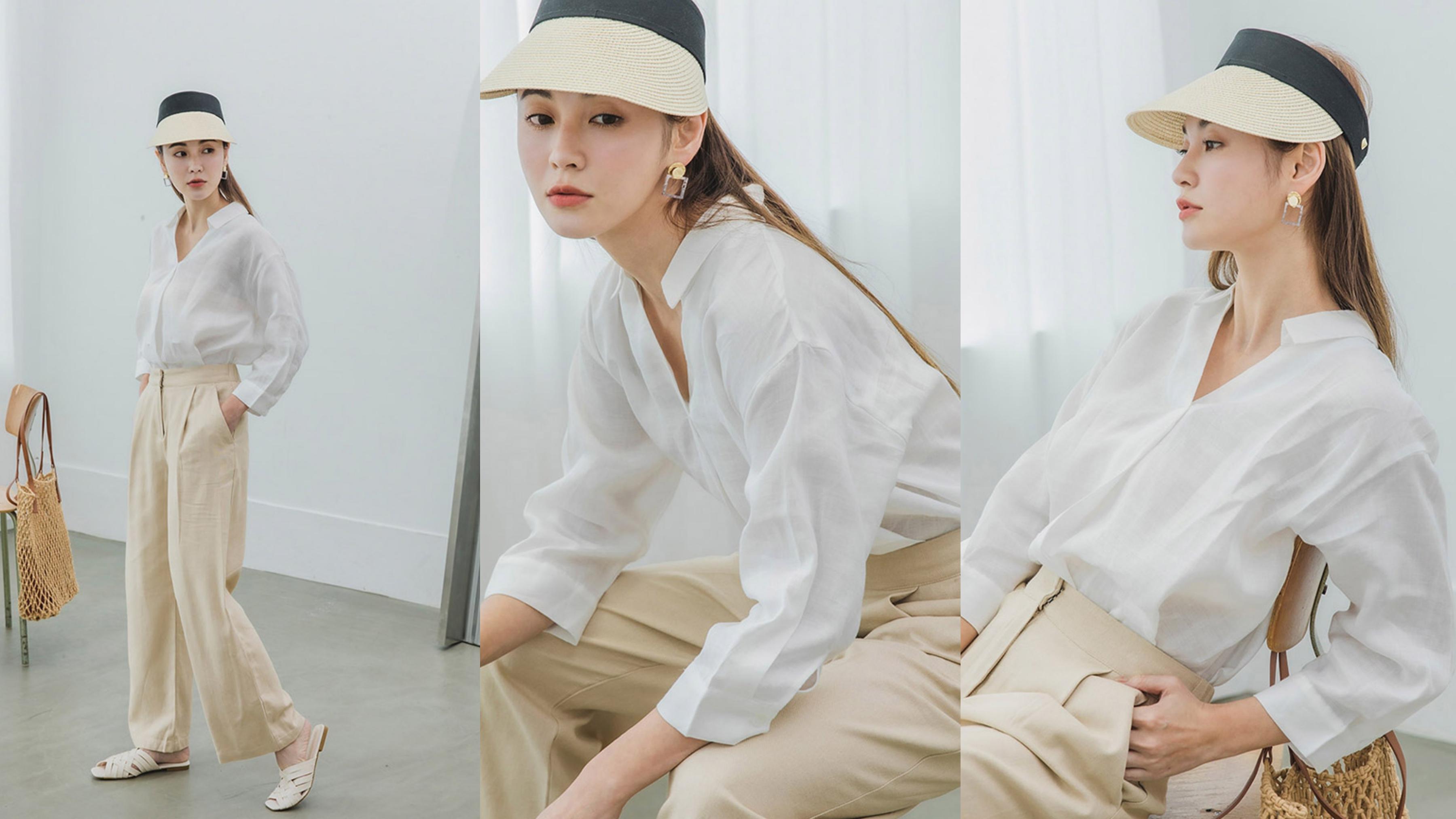 純色素面實穿百搭,胸前打摺設計增添造型感,V領設計好顯瘦