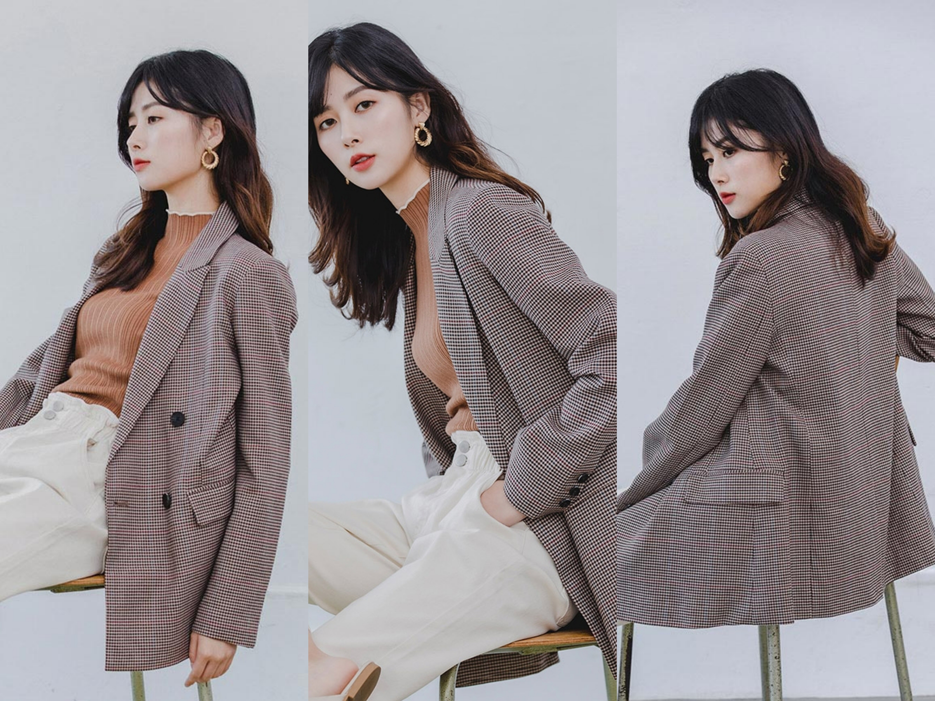 秋冬衣櫃一定要有經典西裝外套,簡約格紋配色展現特色不單調