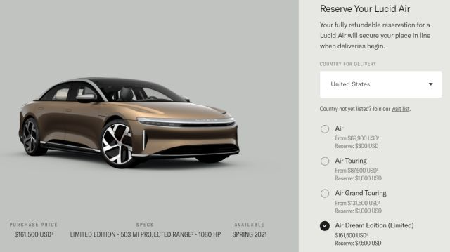 Lucid Air reservation screen