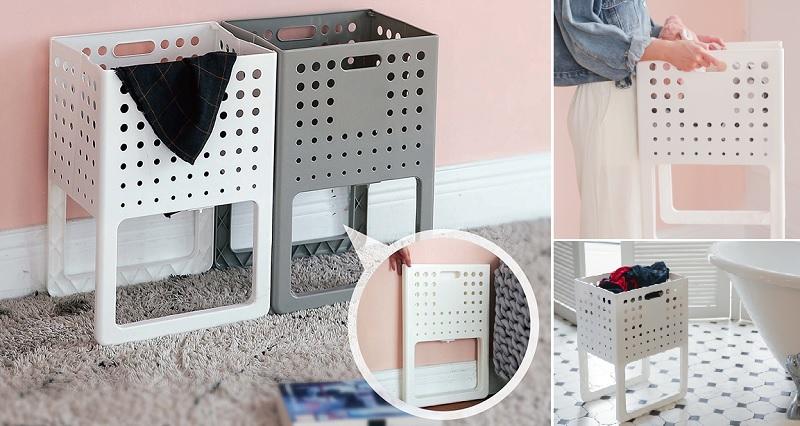 ▲日本熱銷摺疊洗衣籃8折起,摺疊起來纖薄不佔空間,展開固定好提免彎腰。(圖片來源:Yahoo購物中心)