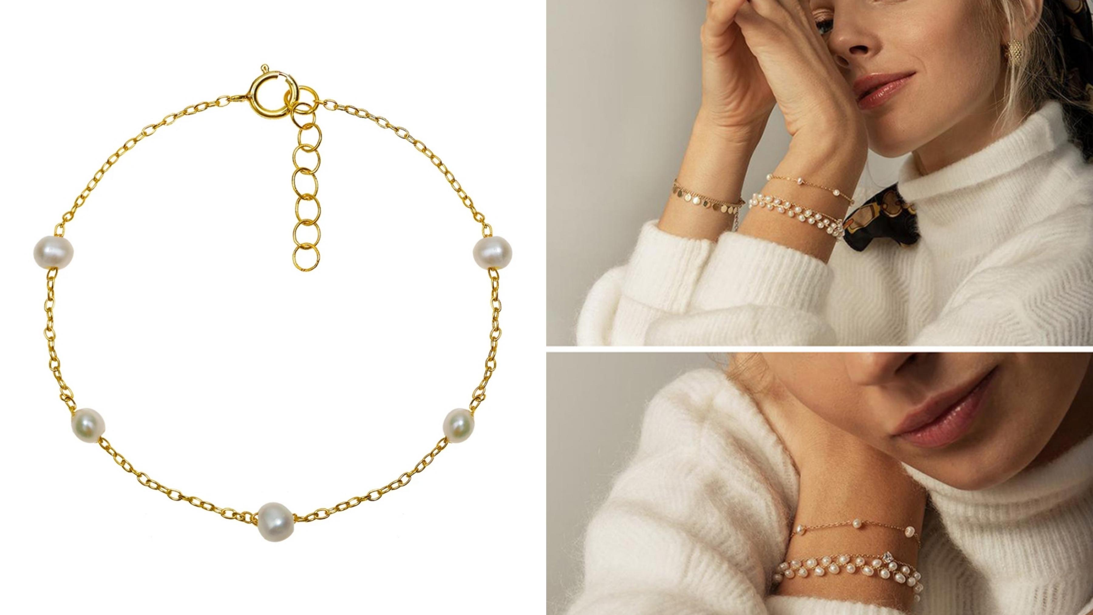 手鍊設計風格優雅簡約,珍珠拼接設計讓整體更活潑