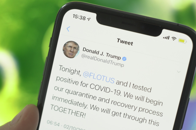 A tweet by US president Donald Trump shows the news of his annoucenment of him and his wife being infected with the coronavirus in this photo illustration in Warsaw, Poland on October 2, 2020. (Photo Illustration by Jaap Arriens/NurPhoto)