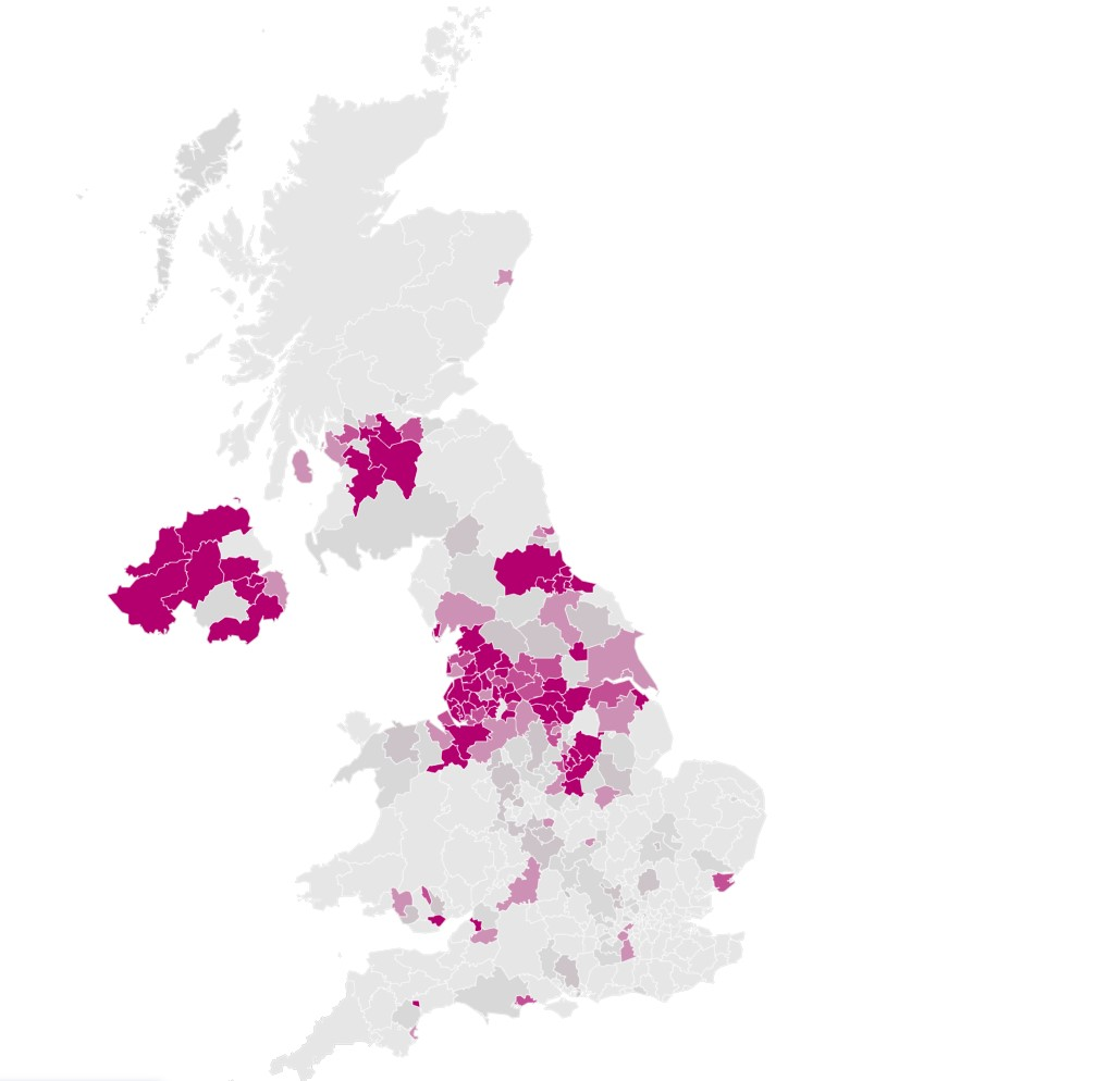 The probability of local authorities having more than 500 cases per 100,000 by the end of October. The darker the shade of purple the higher the probability. (Imperial College London)