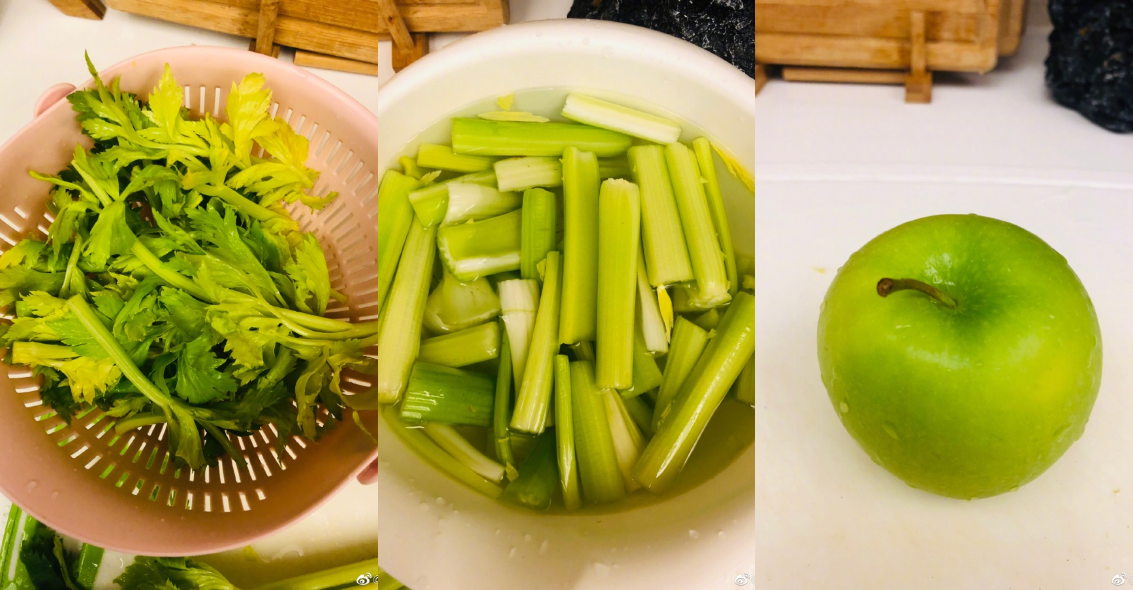 西洋芹菜加青蘋果汁的綜合體不僅可以降血壓及排毒,喝下去更是備感神清氣爽