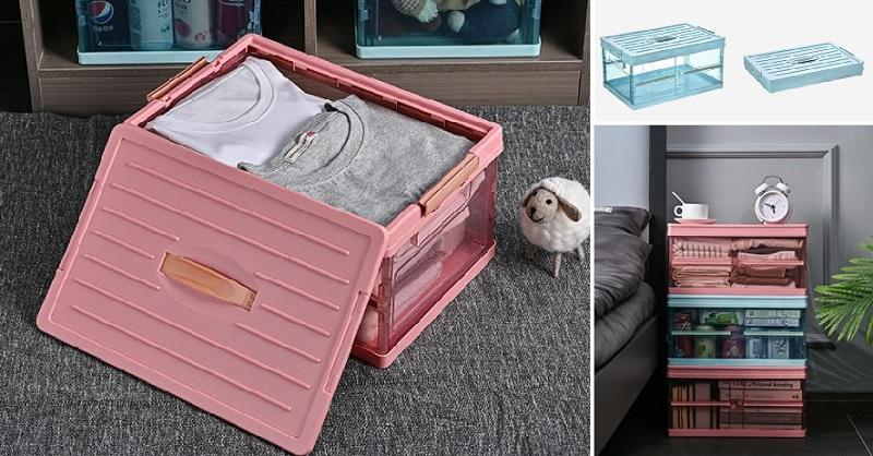 ▲摺疊透明收納箱趁78折買起來,可裝可堆耐重好收,還可充當床頭櫃。(圖片來源:Yahoo購物中心)