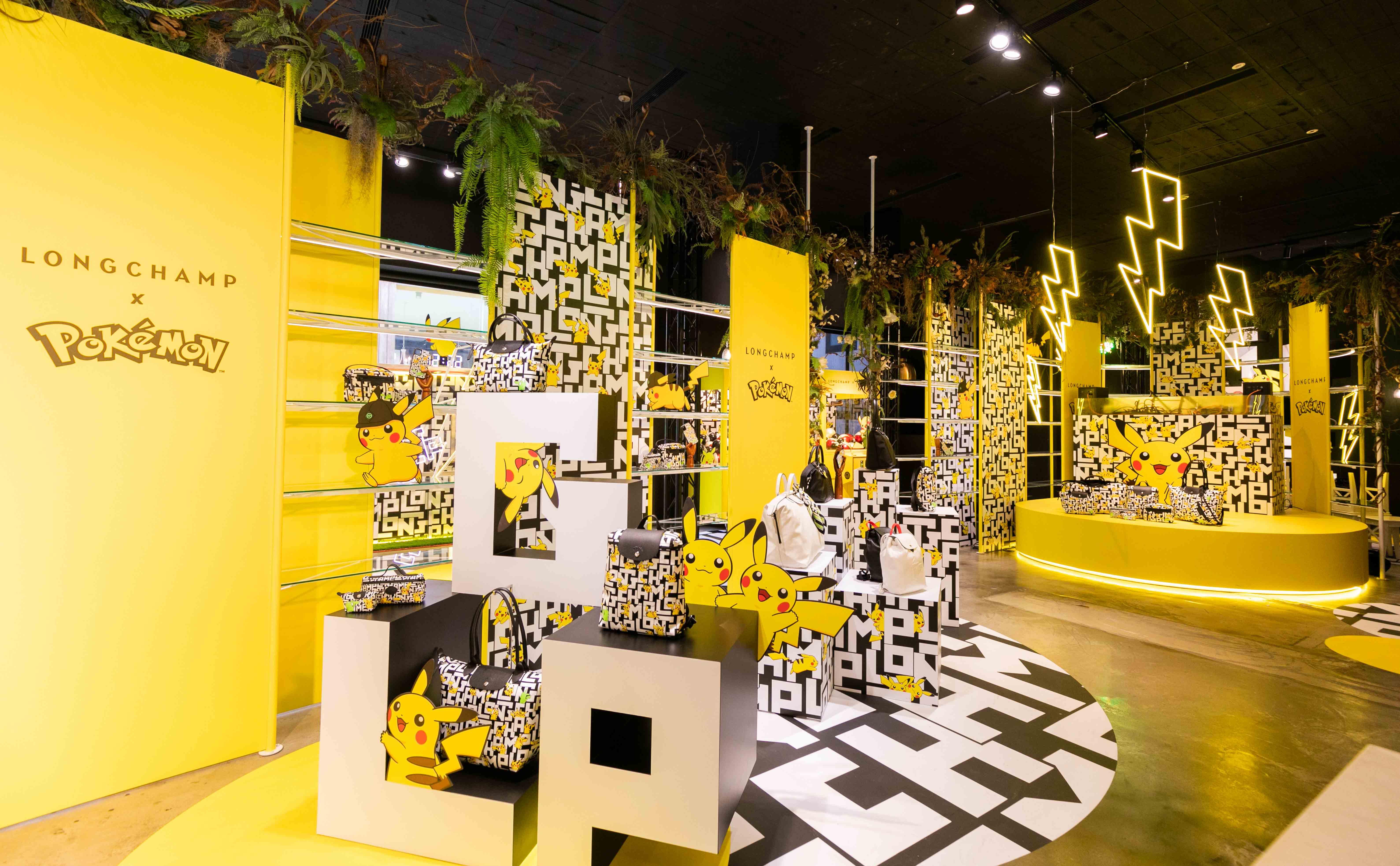 採用黑色與黃色的時尚配色打造成Longchamp x Pokémon快閃店